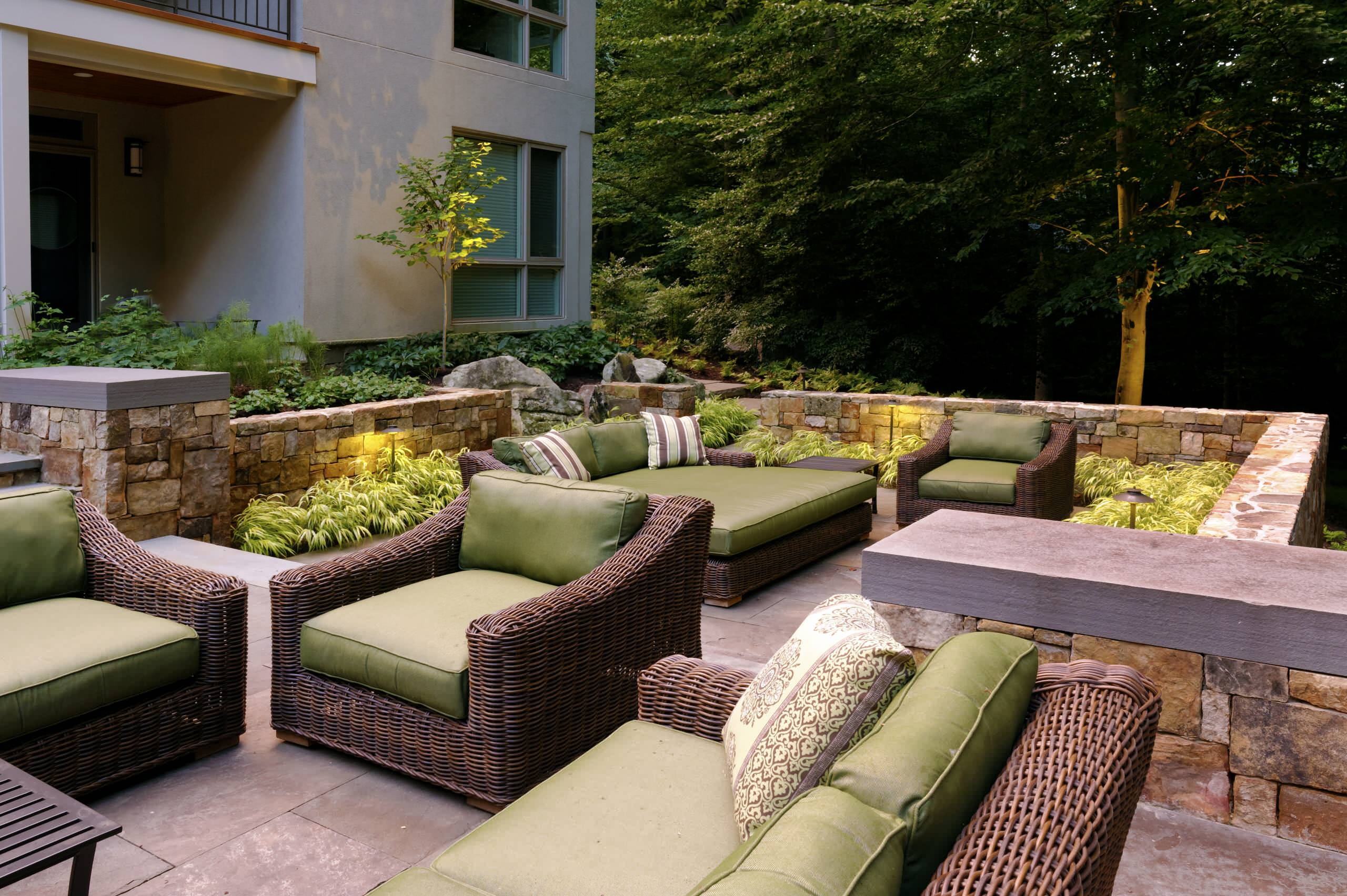 Outdoor Chairs and Loungers Transitional Patio Green Seat Cushions