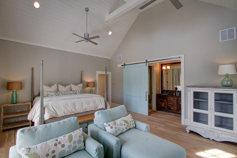 Revere Pewter Beach Style Bedroom Light Wood Floor Beach Barn Door Vaulted Ceilings Bedroom