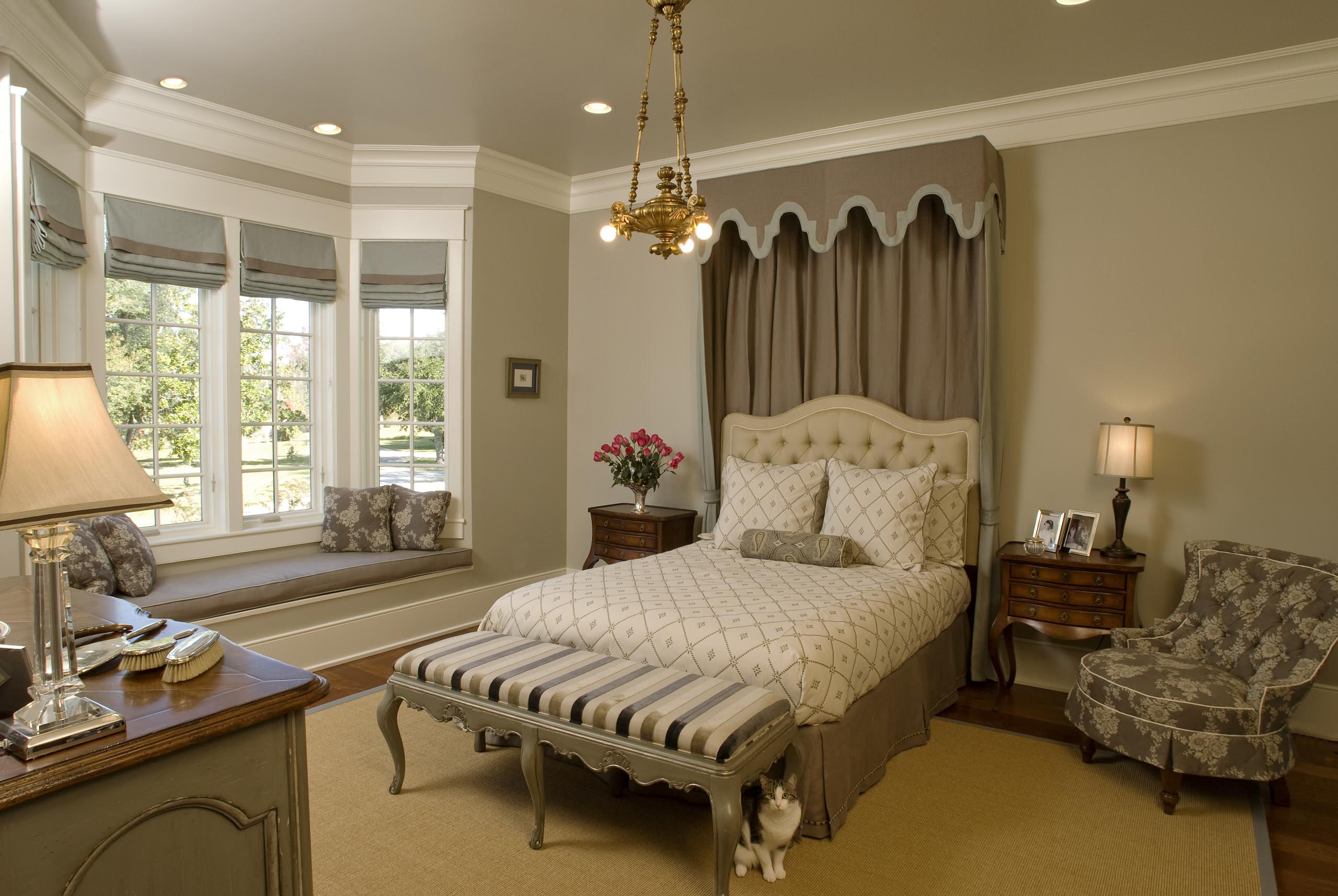 Revere pewter Traditional Bedroom master with beige walls and no fireplace dark wood floor bedroom