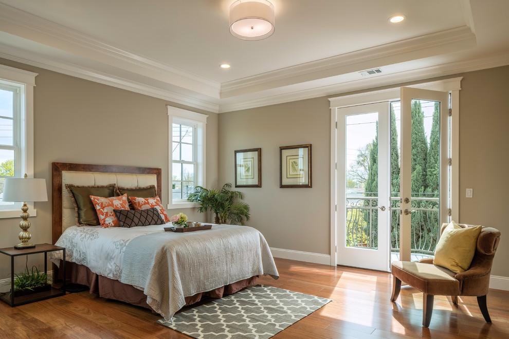 Revere Pewter Transitional Bedroom Medium Tone Wood Floor Bedroom Coffer High Ceiling