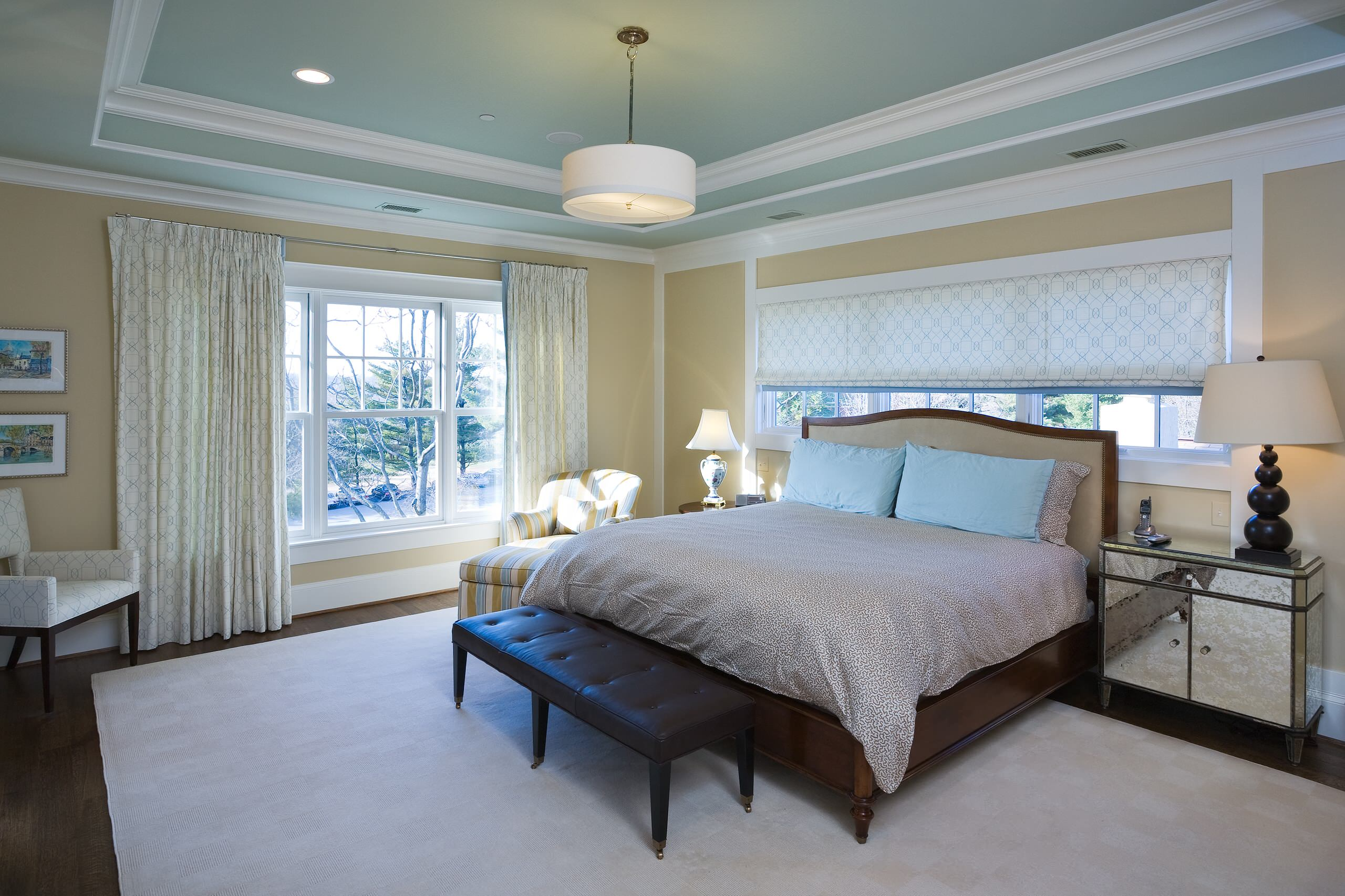 Tray Ceiling Paint Ideas Contemporary Bedroom Leather Bench Pendant Light Curtain Panels Light Blue