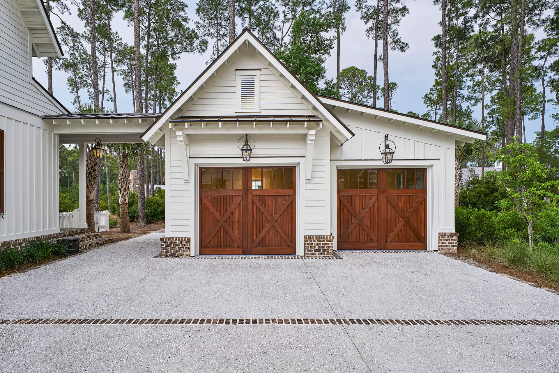 2 Car Garage Dimensions Farmhouse Garage Barn Doors Vaulted Ceilings