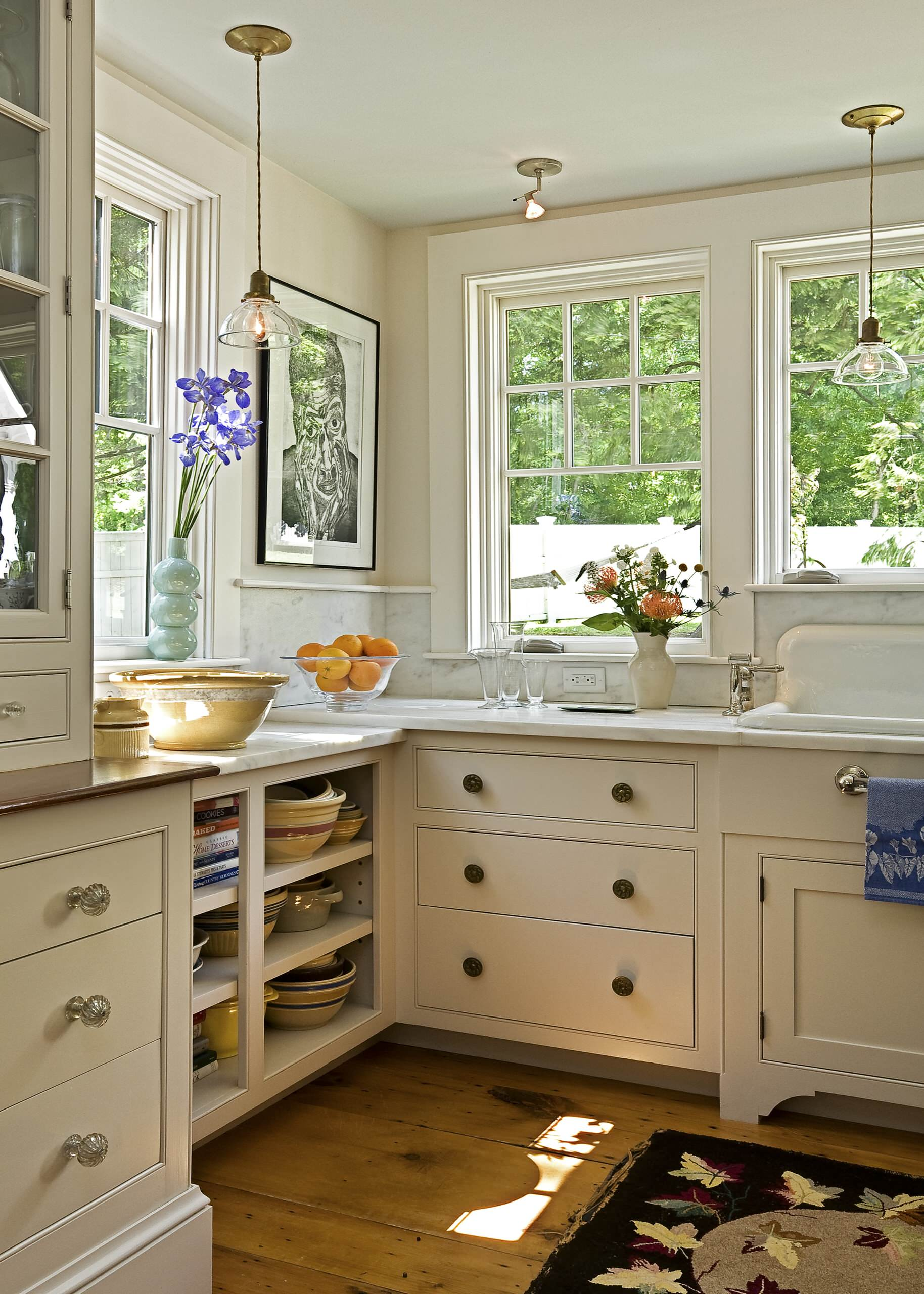 Cabinet Knobs and Handles Traditional Kitchen Farm Sink Glass Knobs Marble Backsplash White Painted Cabinets