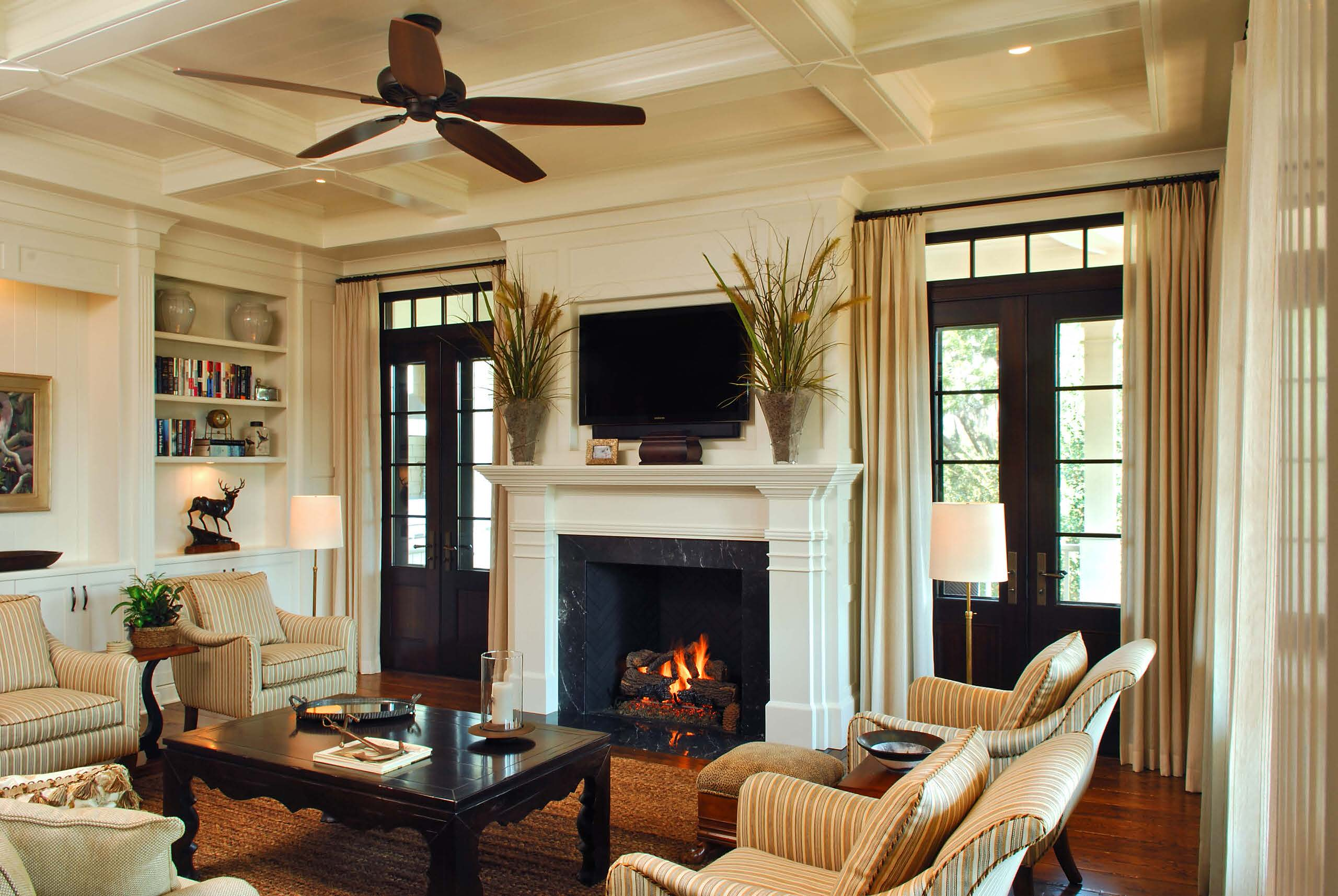 Interior designers charleston sc Traditional Family Room built in cabinetry dark wood floor