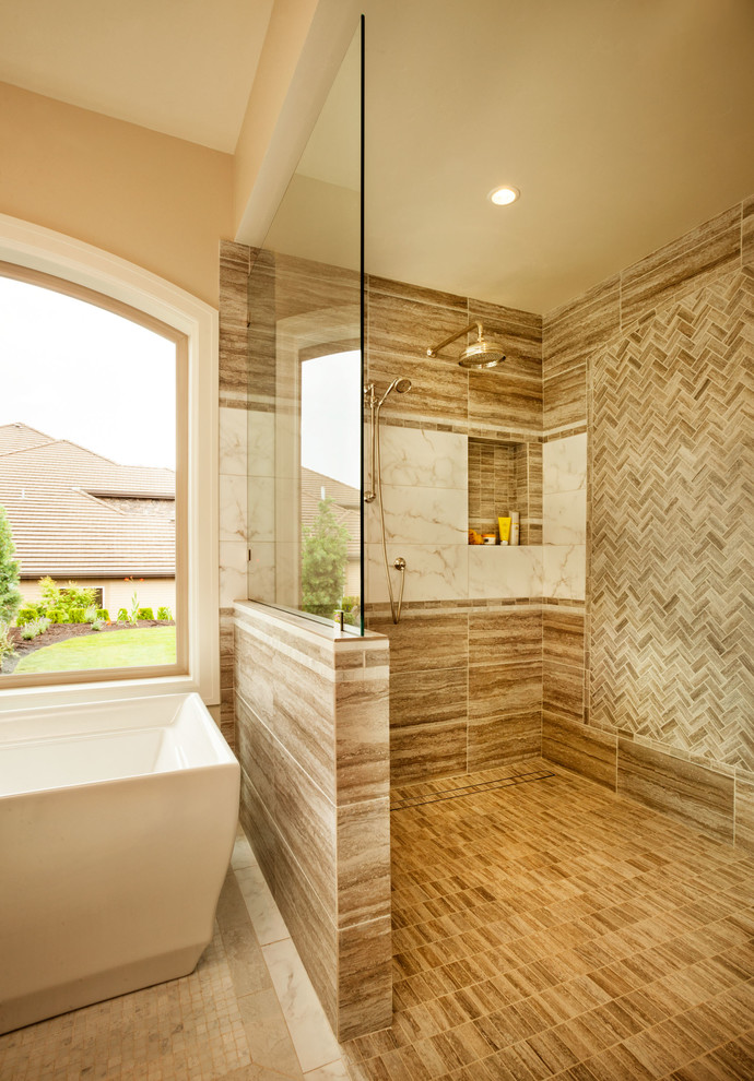 Oregon tile and marble Traditional Bathroom curbless shower