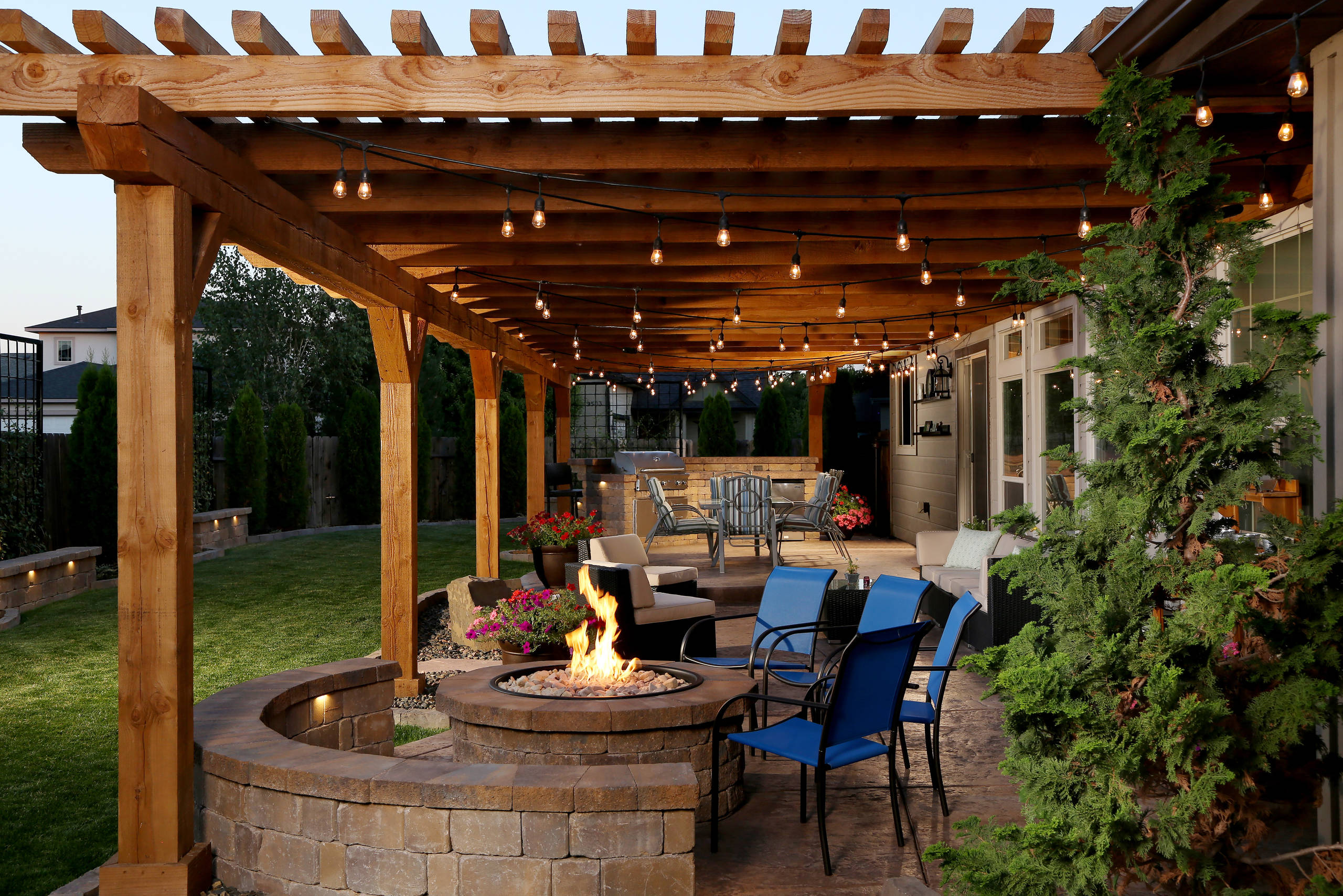 What is a pergola Rustic Patio backyard wood pergola outdoor firepit