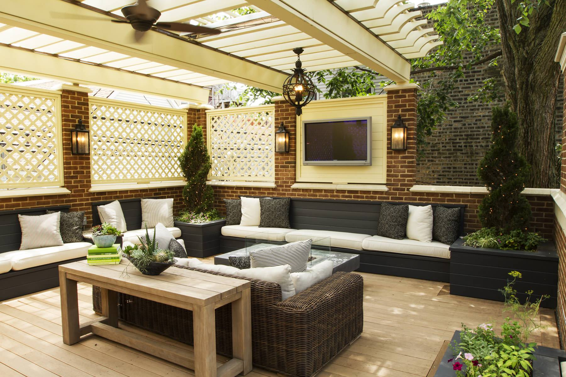 What is a Pergola Traditional Porch Hanging Outdoor Lantern Beige Pergola Built in Bench