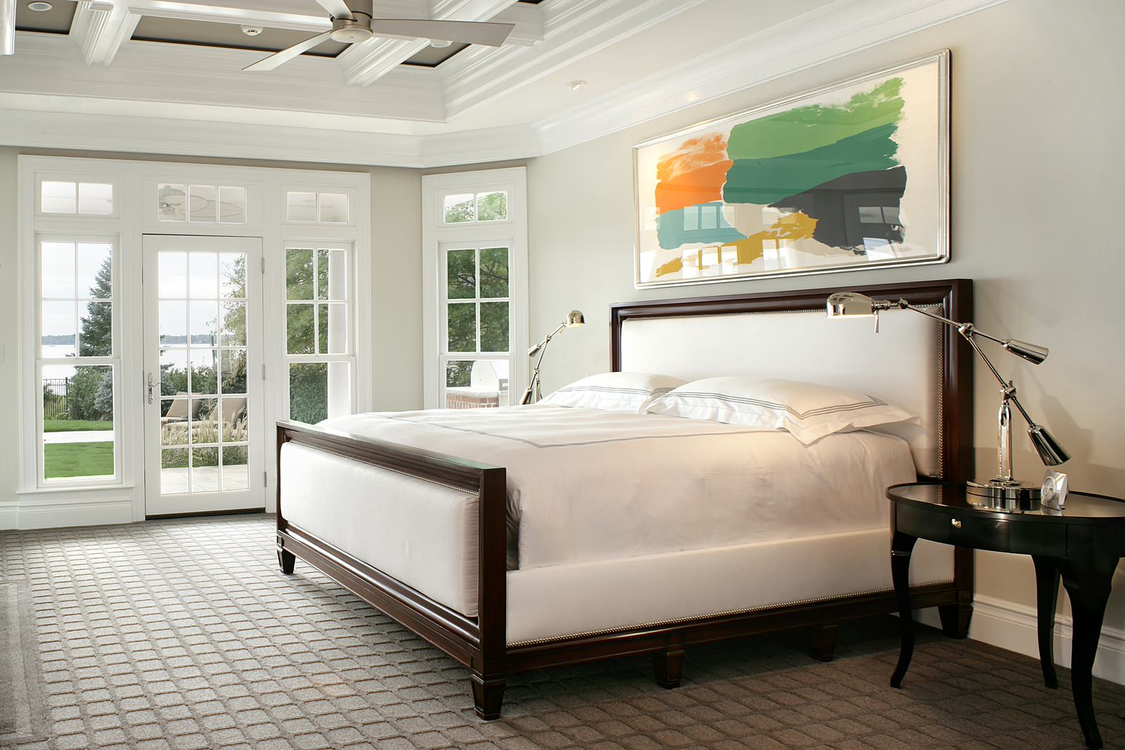 Cost to paint interior of house Traditional Bedroom beige wall headboard white coffered ceiling