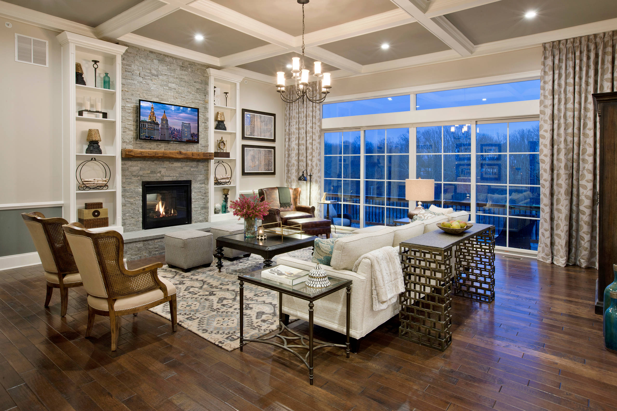 Floor to Ceiling Fireplace Traditional Living Room