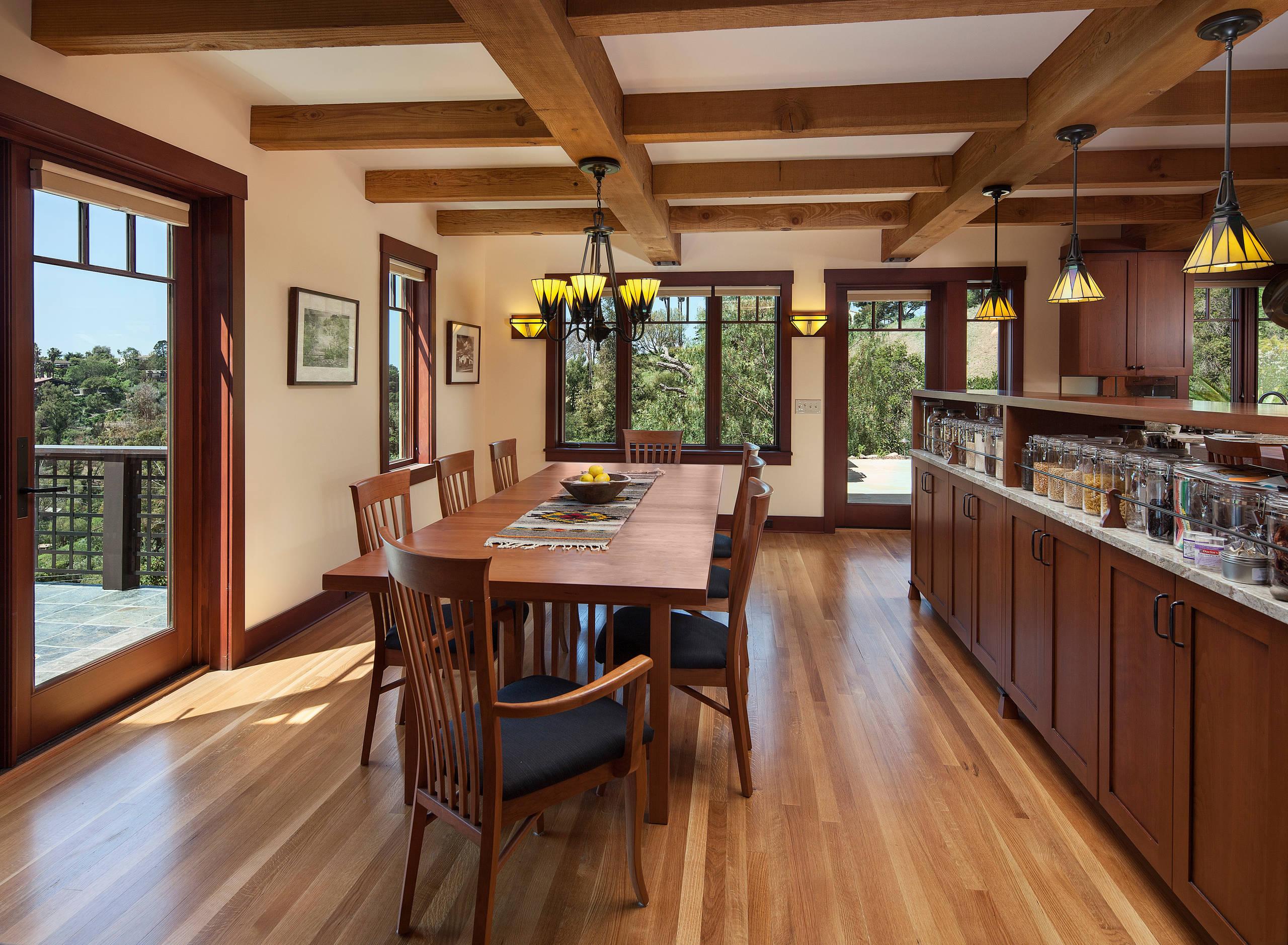 General contractor santa cruz Craftsman Dining Room chandelier pendant lighting wood dining chairs wood dining table