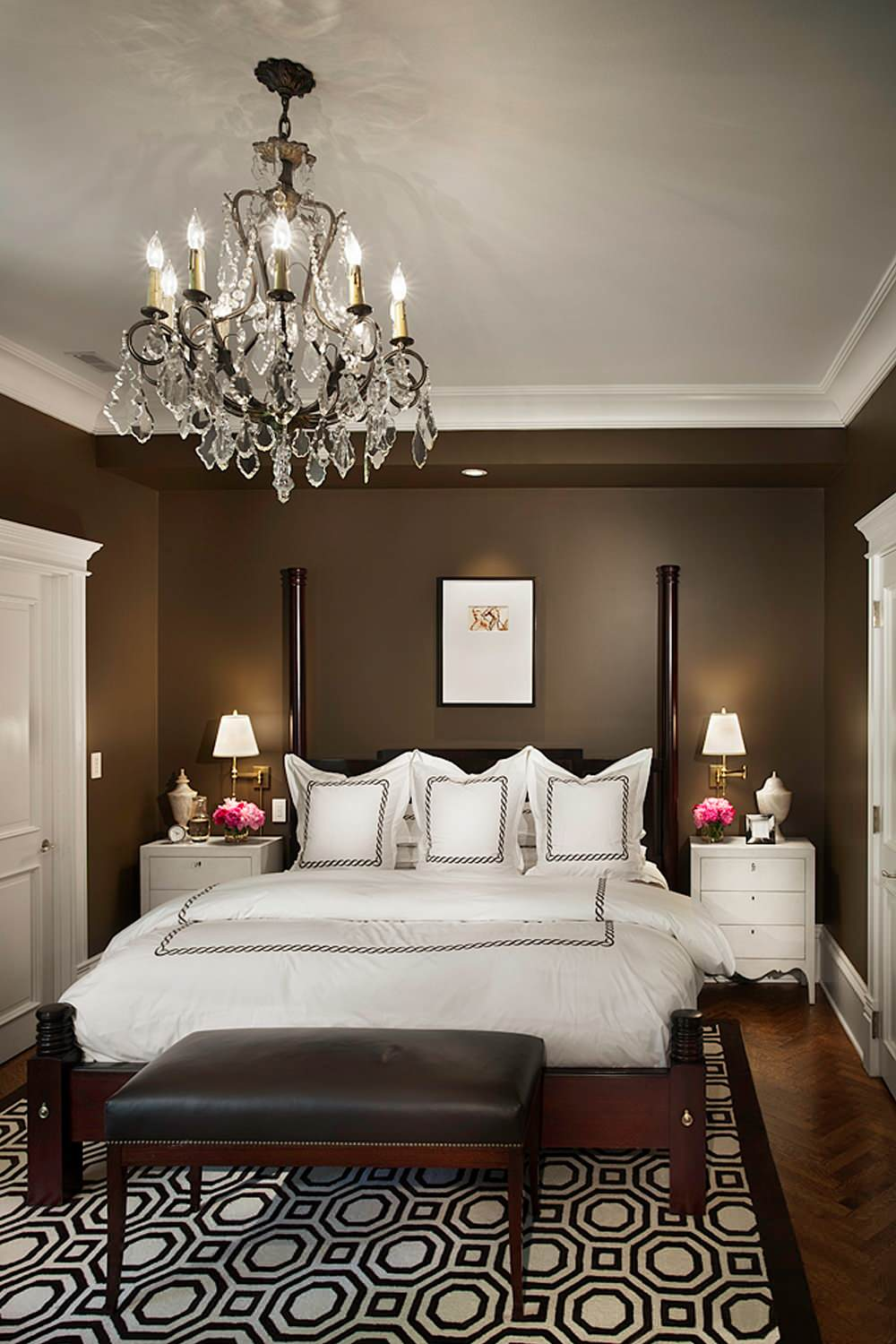 Rug size for queen bed Traditional Bedroom chocolate brown walls crystal chandelier graphic rug
