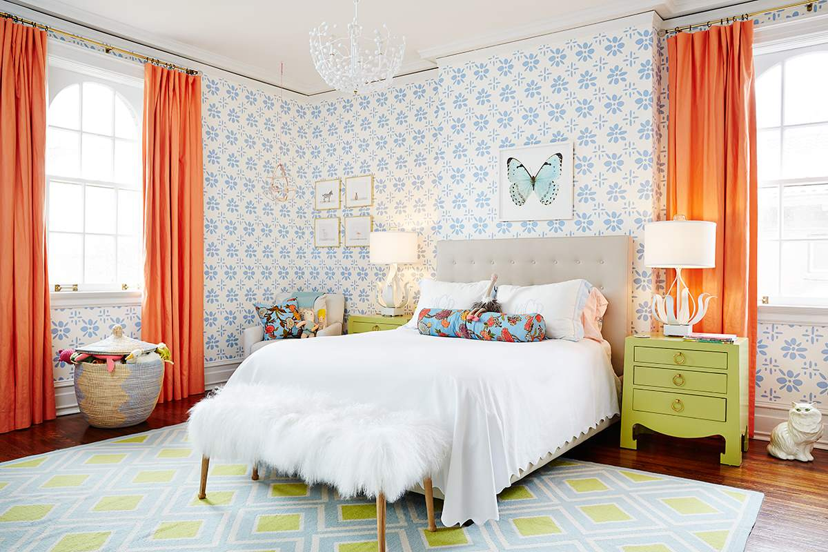 Rug Size for Queen Bed Transitional Kids Floral Wallpaper