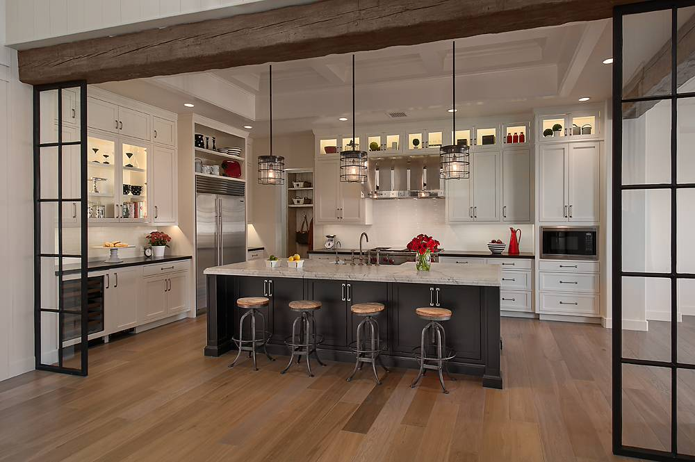 White Cabinets with Wood Floors Traditional Kitchen Accent Lighting Recessed Ceiling Steel Window Partition Wine Storage