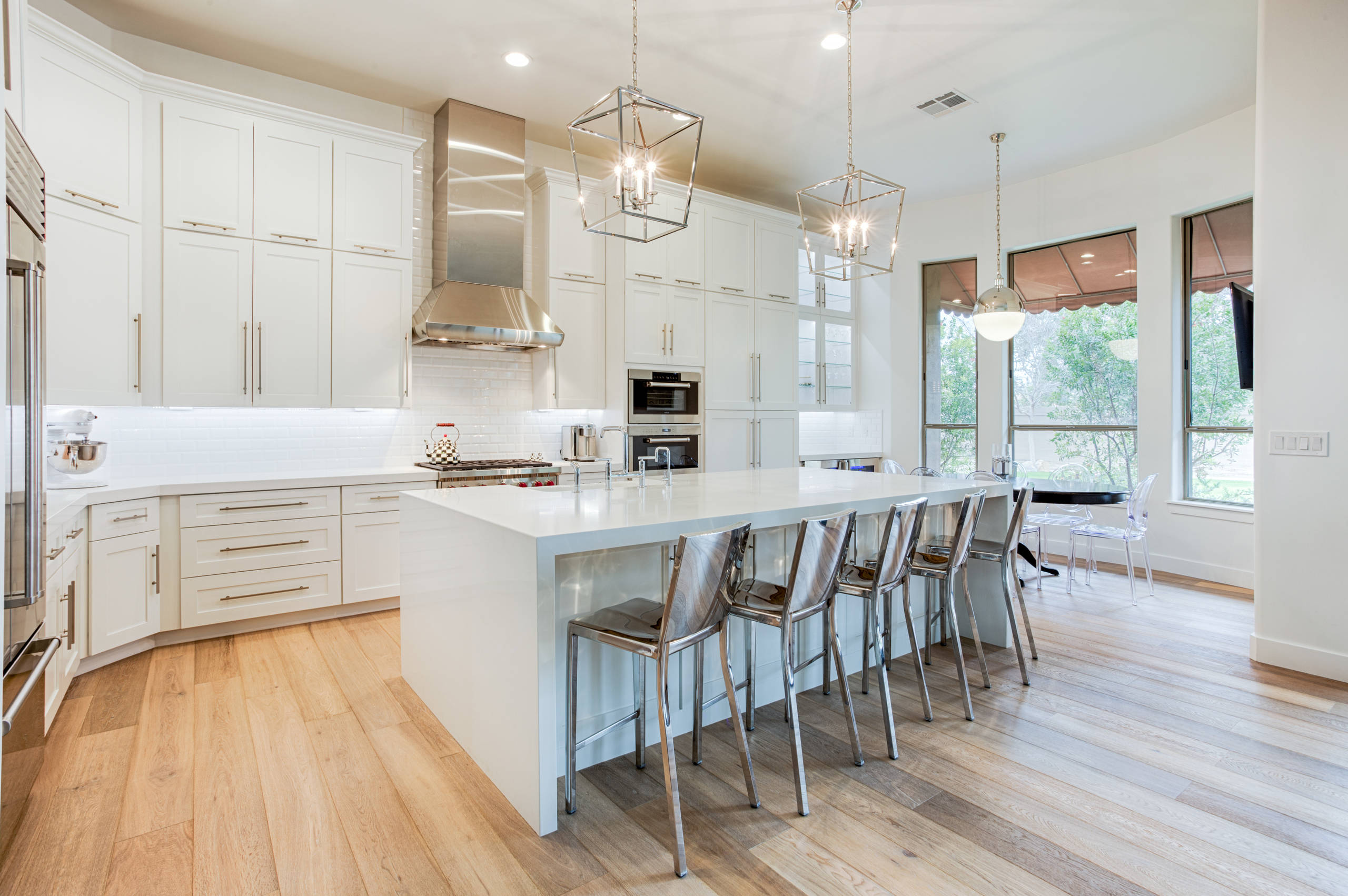 White Cabinets with Wood Floors Transitional Kitchen Hardwood Floors Light Wood Floors Under Cabinet Lighting