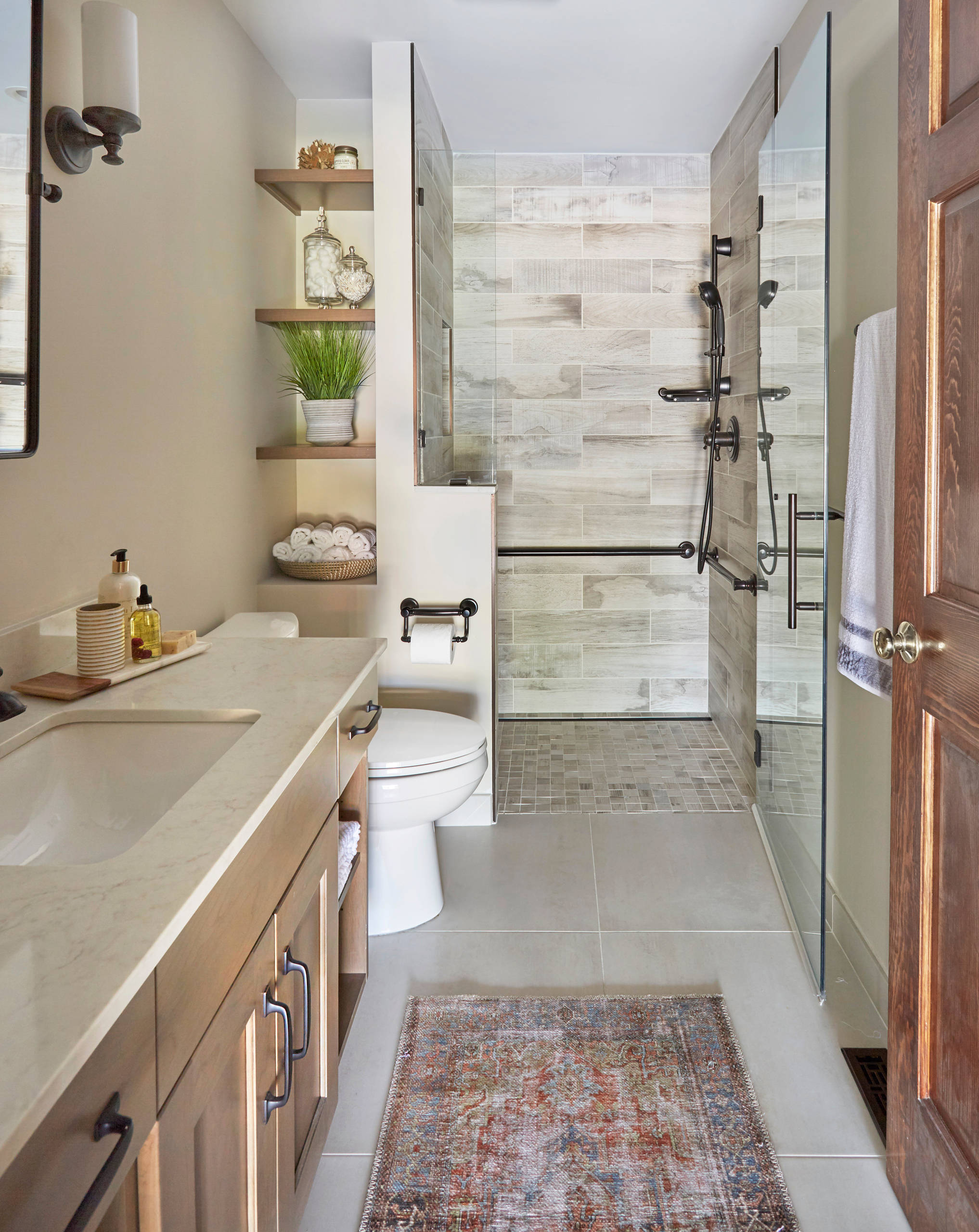 Toilet Paper Holder Height Craftsman Bathroom Frameless Glass Shower Door Pivot Mirror Wood Look Tile
