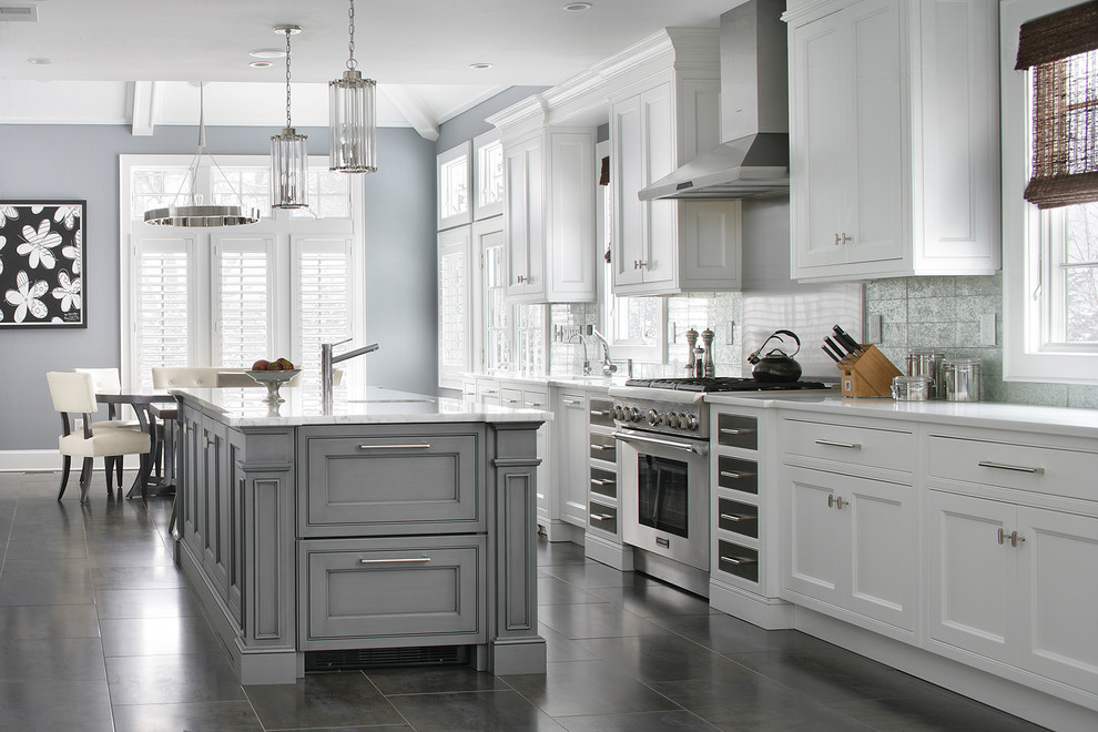 What color is pewter Transitional Kitchen beaded inset cabinets metallic backsplash