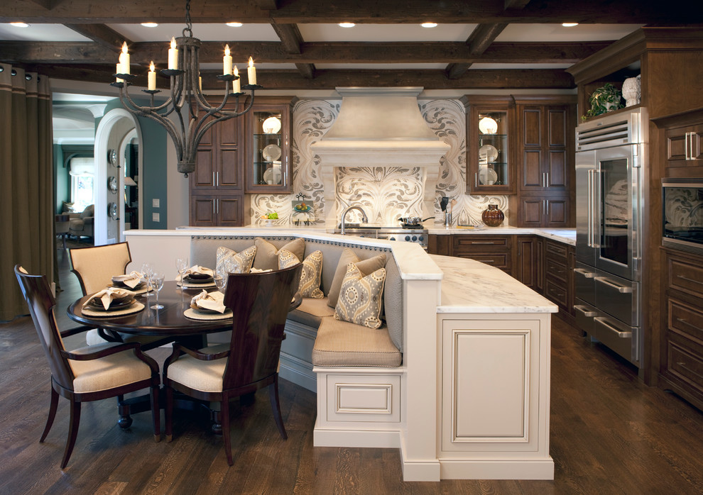 Dark wood floor kitchen Traditional Kitchen banquette seating built in curved dining bench dark wood dining table