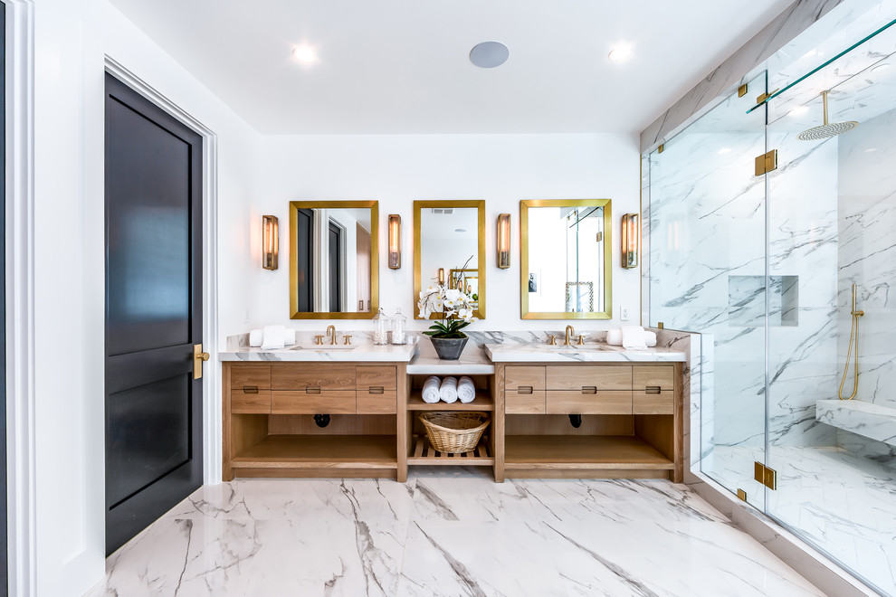 General contractor los angeles Transitional Bathroom modern farmhouse custom home builders