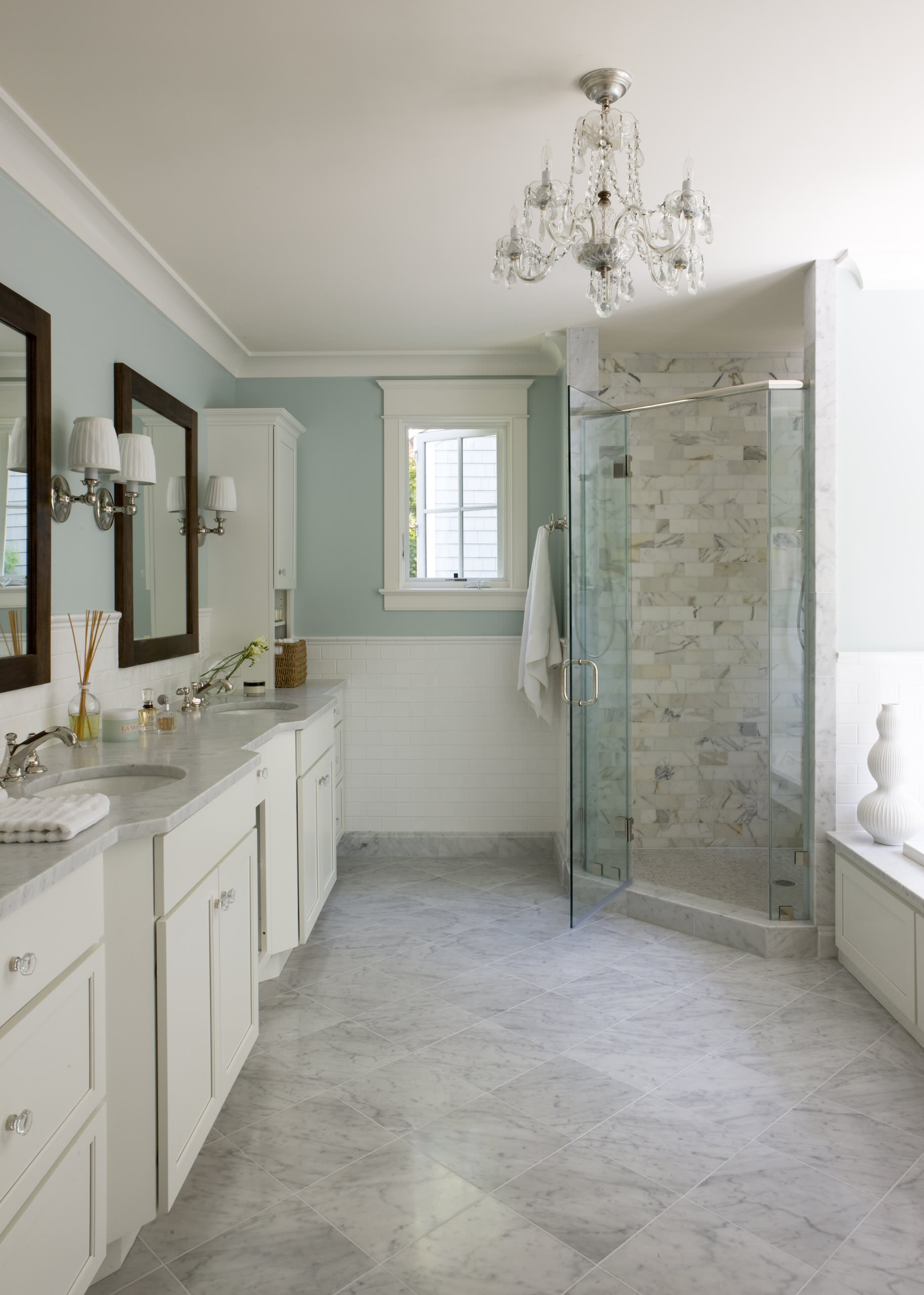 What color should i paint my house Traditional Bathroom light blue wall double sink, double vanity white tile wall