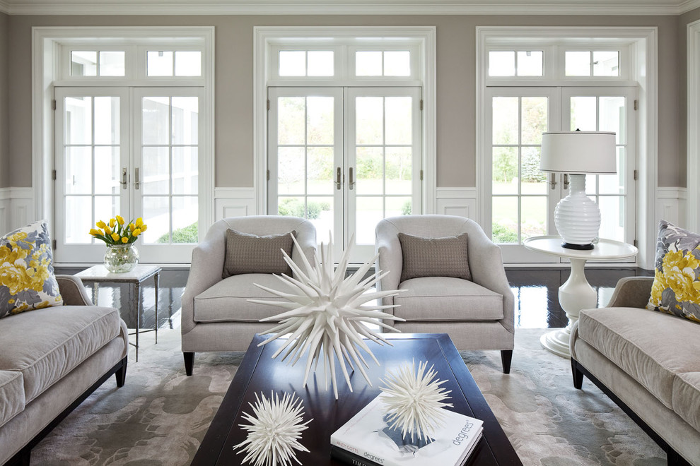 What Color Should I Paint My House Transitional Living Room Black Floor Yellow Ottoman Decorative Pillows Area Rug Cocktail Table
