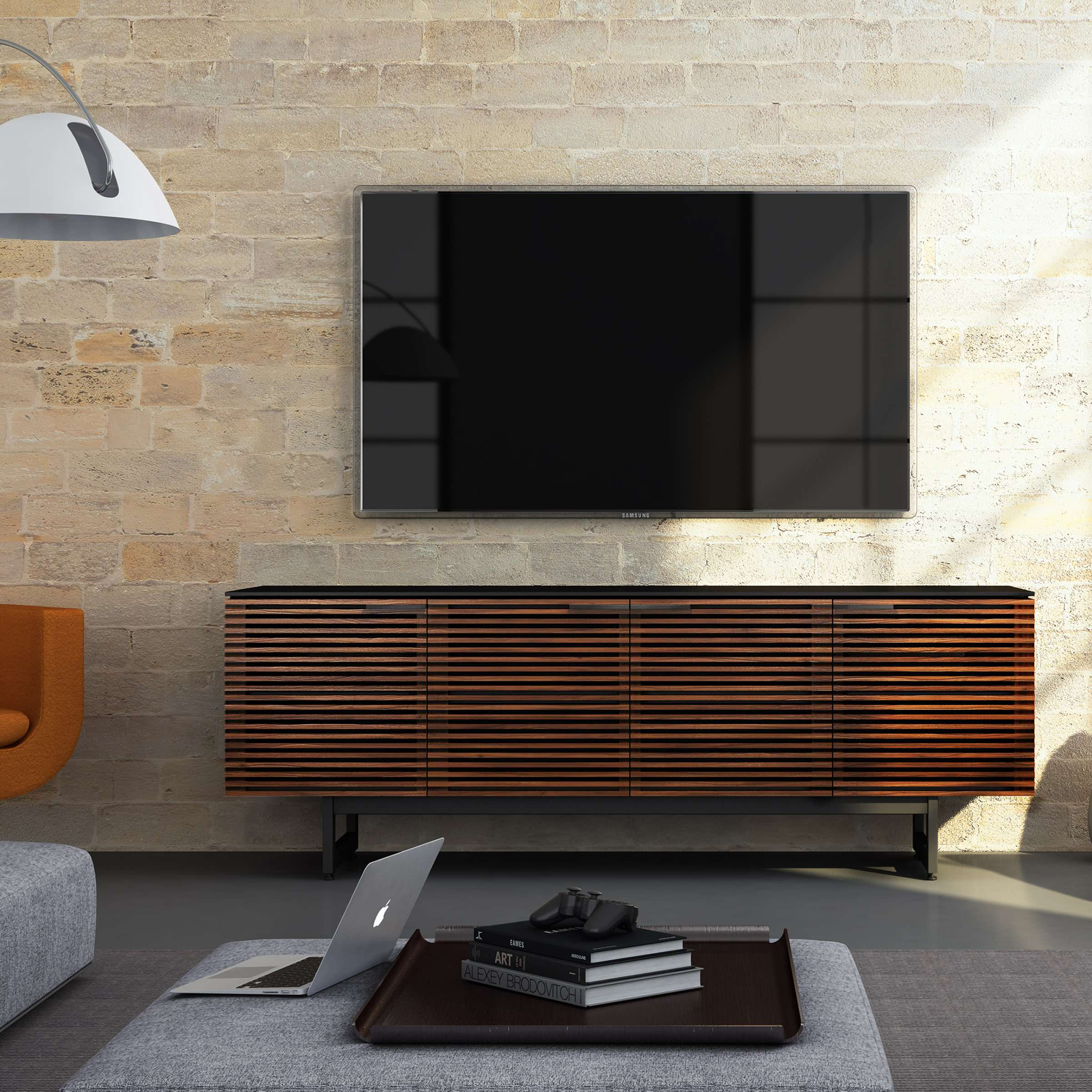 Entertainment centers and tv stands Contemporary Living Room console tables gray ottoman louvered doors media cabinet