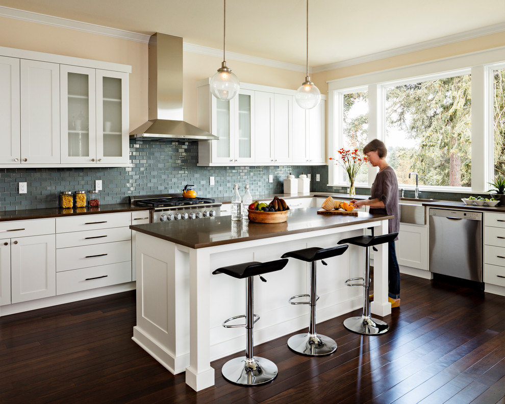 Dark floors white cabinets Transitional Kitchen brown countertop contemporary bar stools farmhouse sink