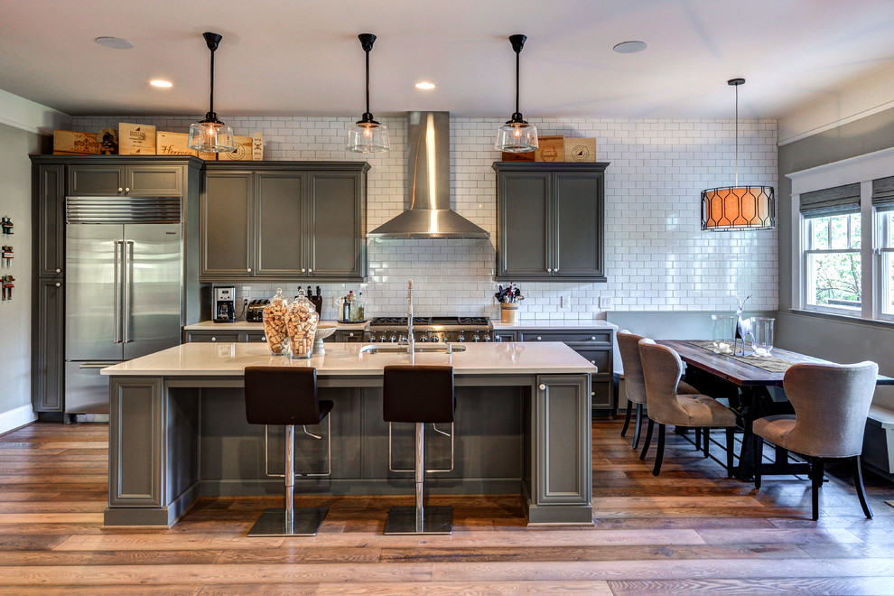 Gray cabinets what color walls? at Transitional Kitchen 3x6 Subway Tile banquette breakfast nook full wall backsplash full wall tile