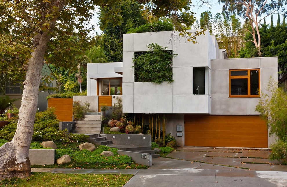 Los Angeles Architecture Firms Asian Exterior Asian Bamboo Cantilevered Wood Garage Door