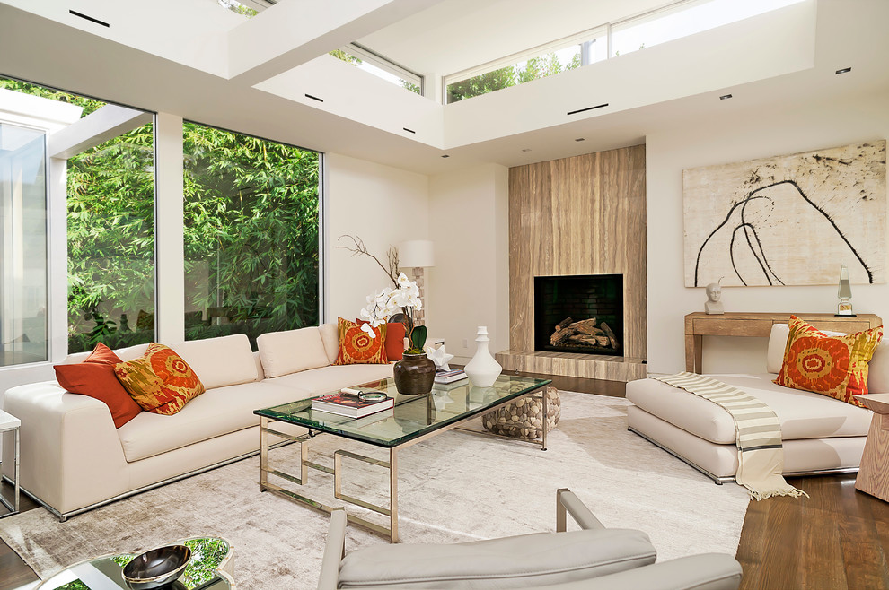 Los Angeles Architecture Firms Contemporary Family Room Clerestory Windows Gold and Glass Coffee Table Neutral Area Rug