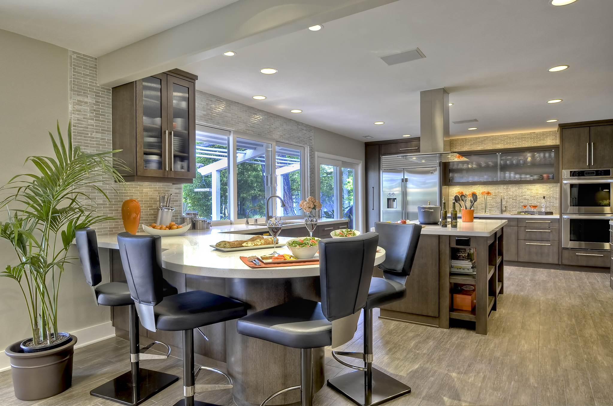 Porcelain Tile vs Ceramic Tile Contemporary Kitchen Glass Front Cabinets Tile Wall U Shaped Porcelain Tile Kitchen