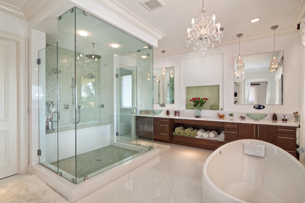 Standard shower head height Transitional Bathroom ceiling lighting freestanding bathtub rain shower bathroom mirror