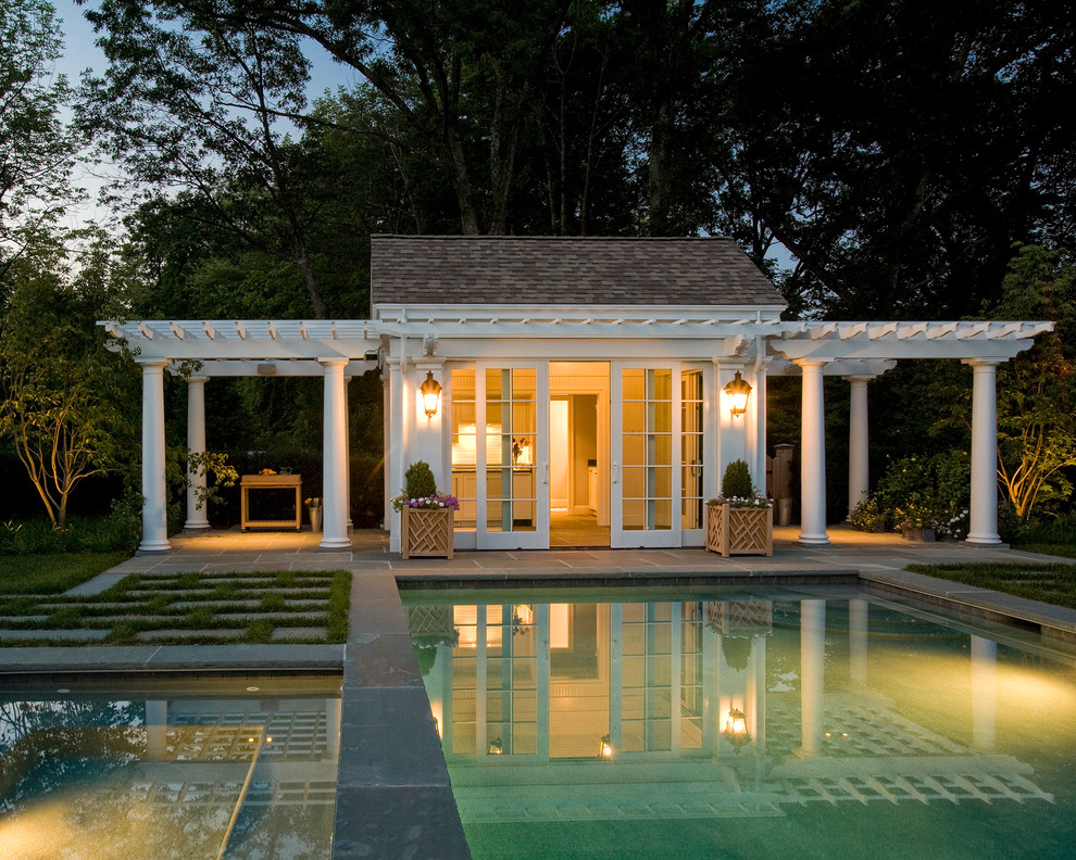 What is a cabana? with Traditional Pool Patio shingle roof french windows