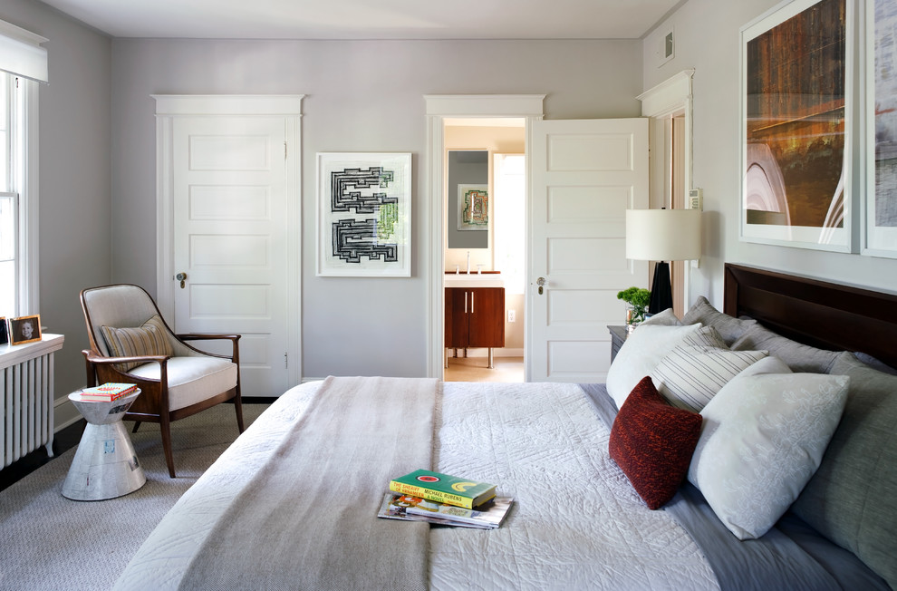 White trim with wood doors Contemporary Bedroom abstract artwork white quilt