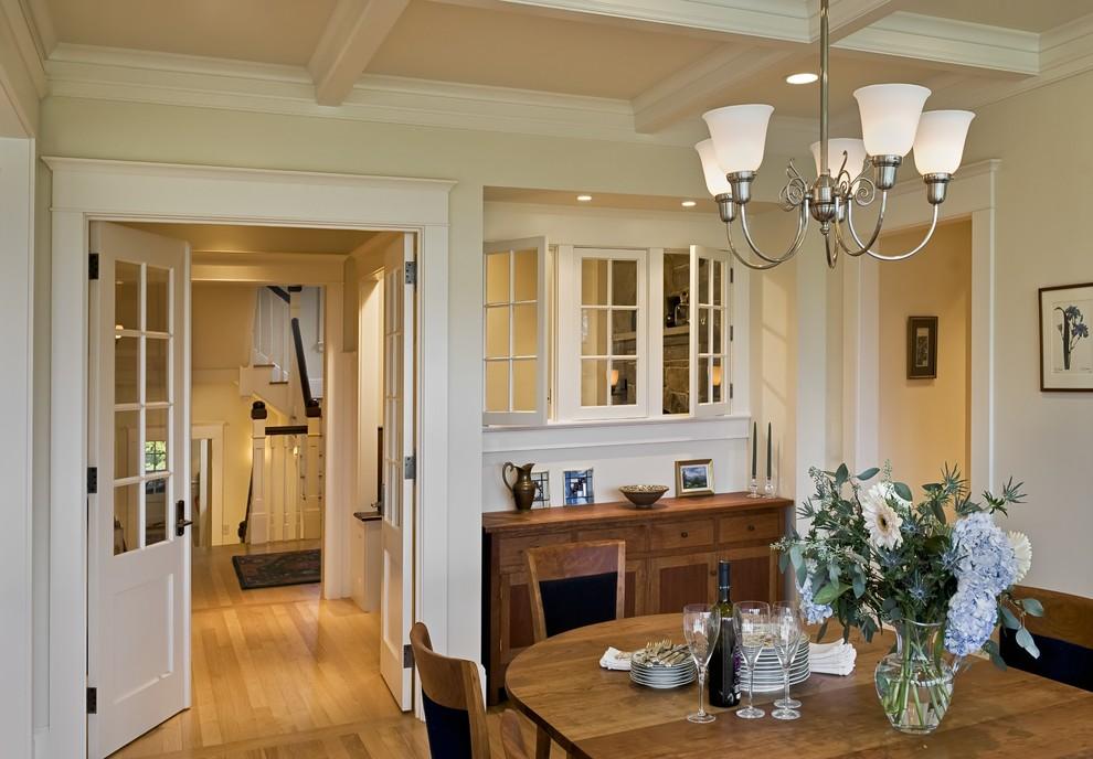 White Trim with Wood Doors Victorian Dining Room Wood Flooring Ceiling Lighting