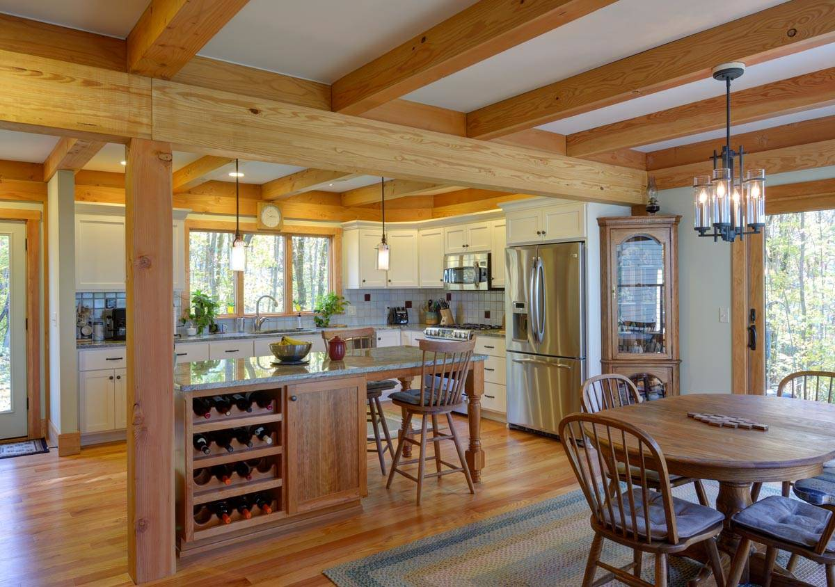 Post and Beam Construction Craftsman Kitchen Ceiling Lighting Eat in Kitchen Exposed Beams Undermount Sink Wood Countertops