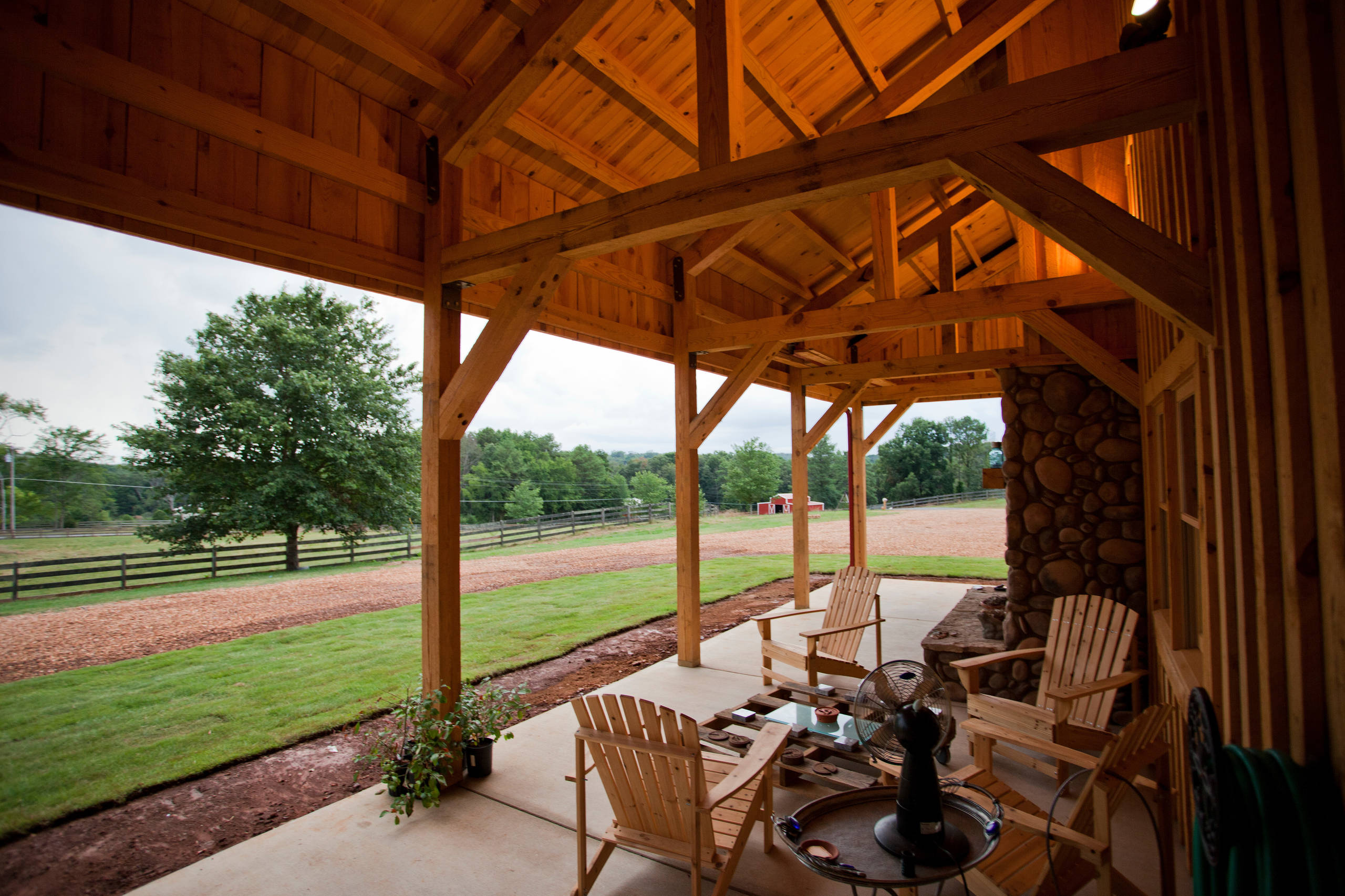 Post and Beam Construction Traditional Patio Wood Barn Home