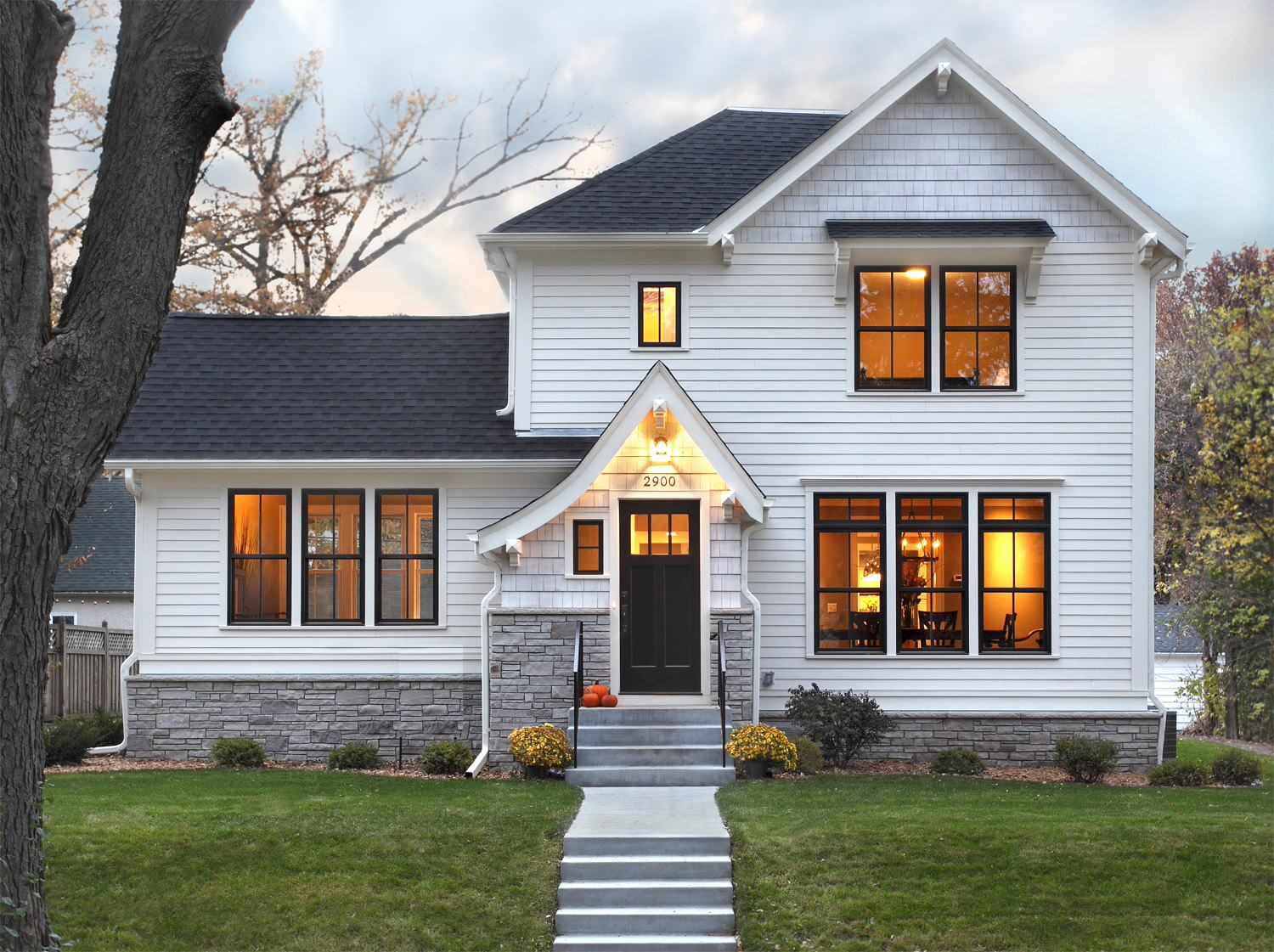 White house black trim Traditional Exterior dutch gable roof exterior lighting fiber cement hardie horizontal siding