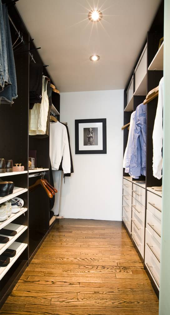 walk in closet dimensions Contemporary Closet dark wood floor hanging rod mirror recessed lighting drawers