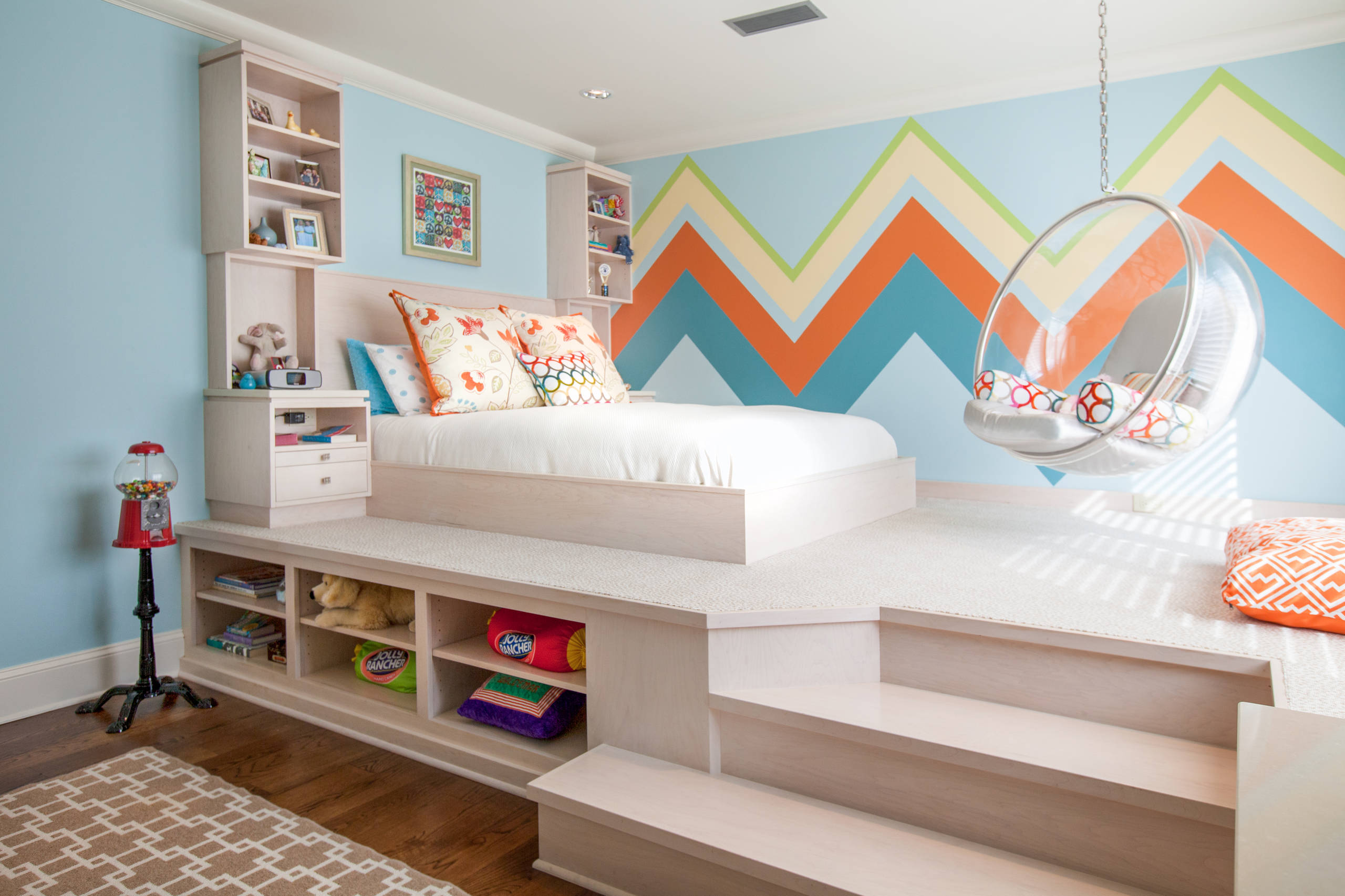 Cost to paint walls in Contemporary bedroom bedding bedside table bunk beds staircase drawers