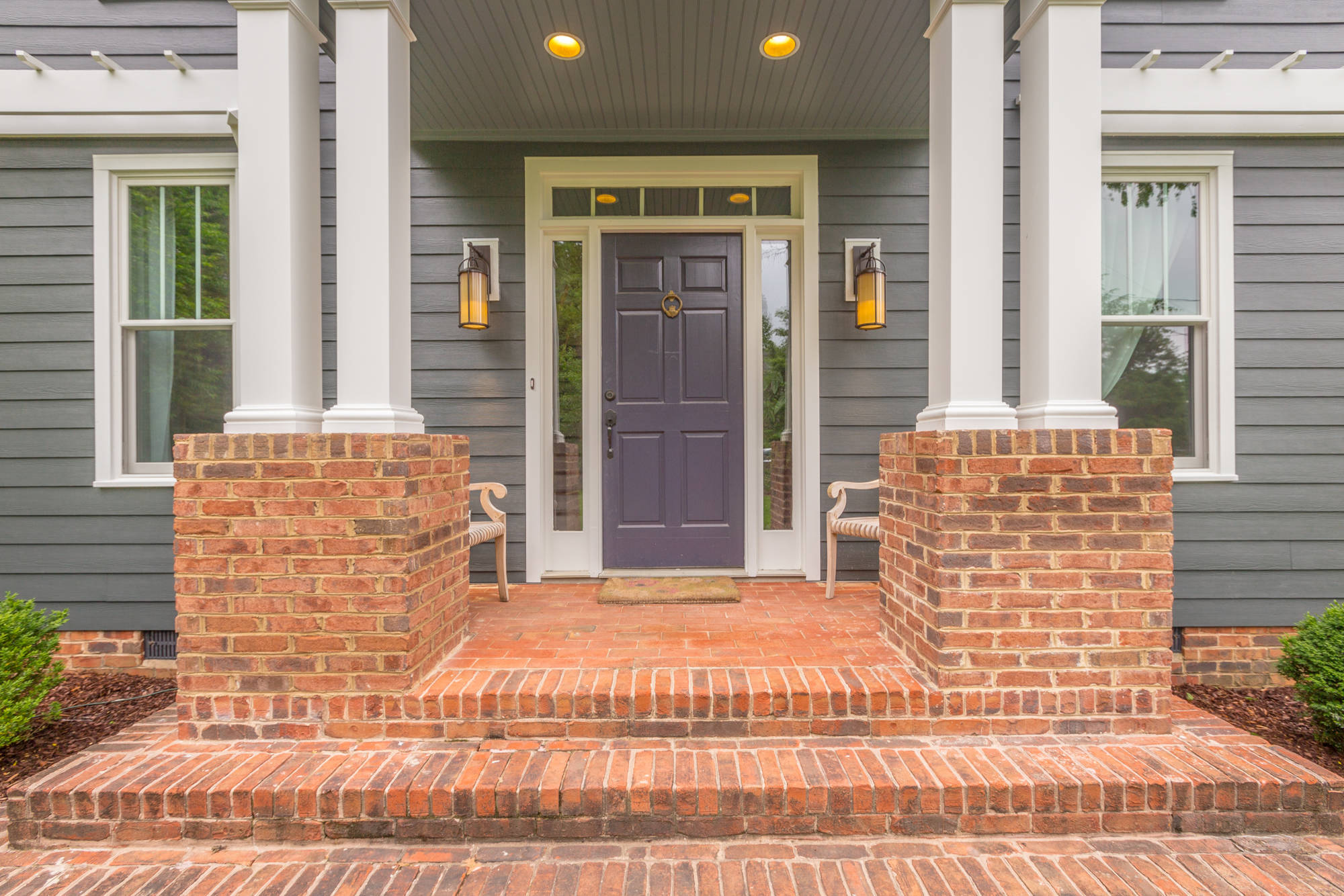 Front door colors for brick houses Traditional Entry pendant light portico shingle square columns white trim