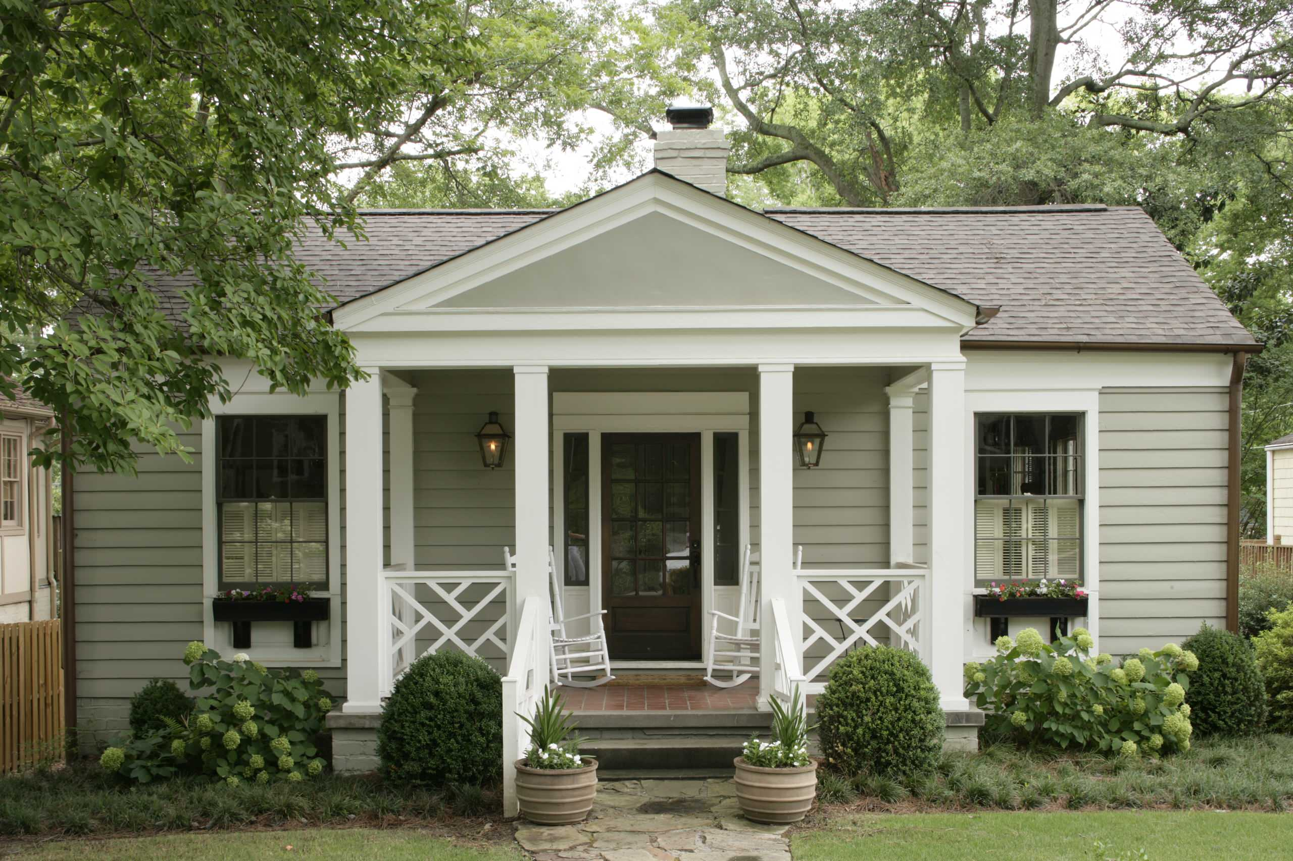 Front Porch Ideas for Ranch Style Homes Traditional Exterior Container Plants Cottage Entrance Fretwork