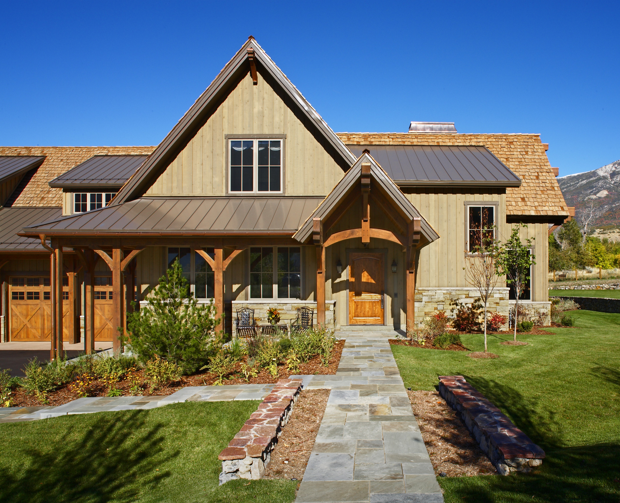Front porch ideas for ranch style homes beams bench chimney corbels covered entry