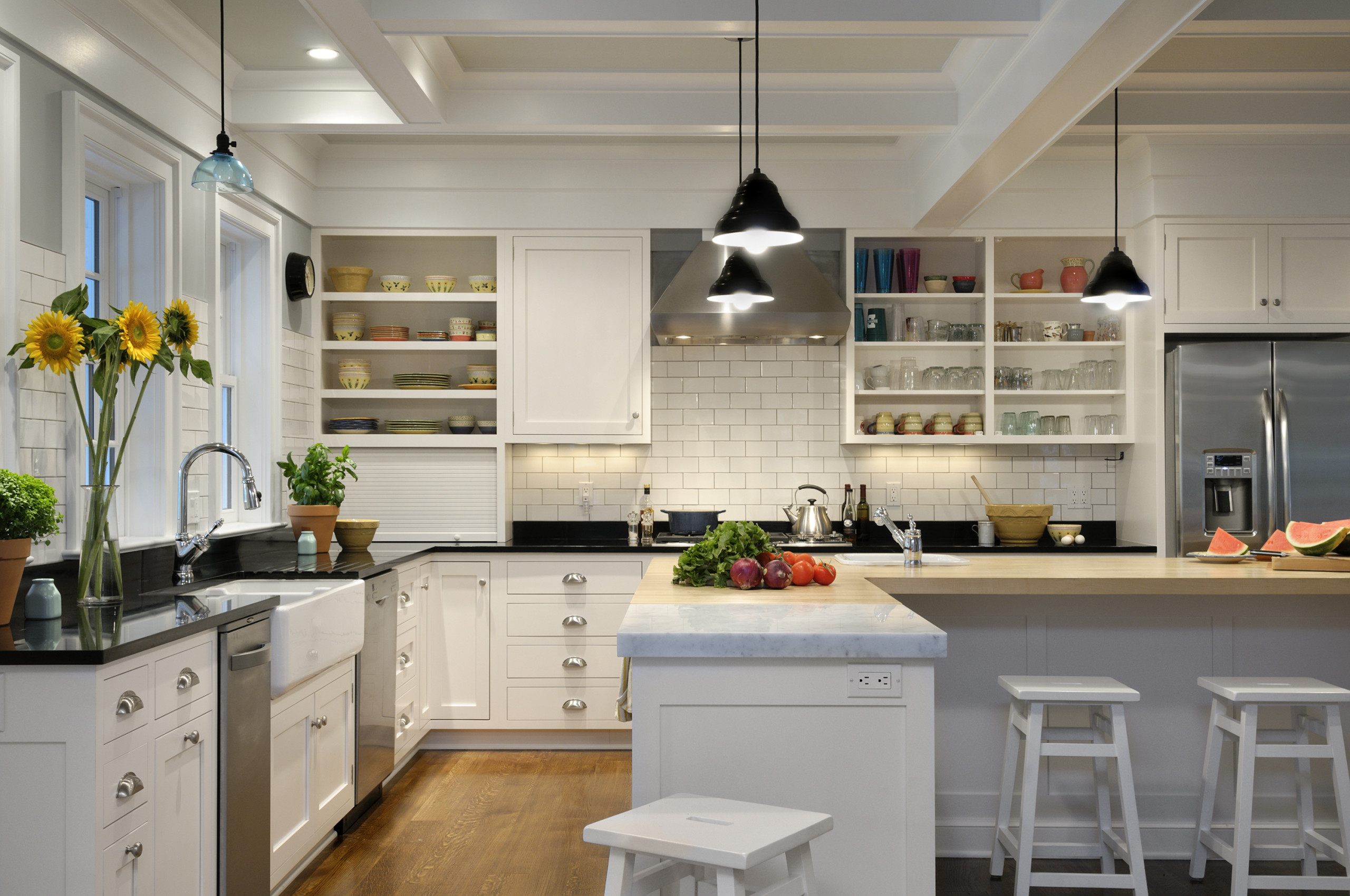 White Cabinets with White Appliances Farmhouse Kitchen Barstools Island Overlay Cabinetry