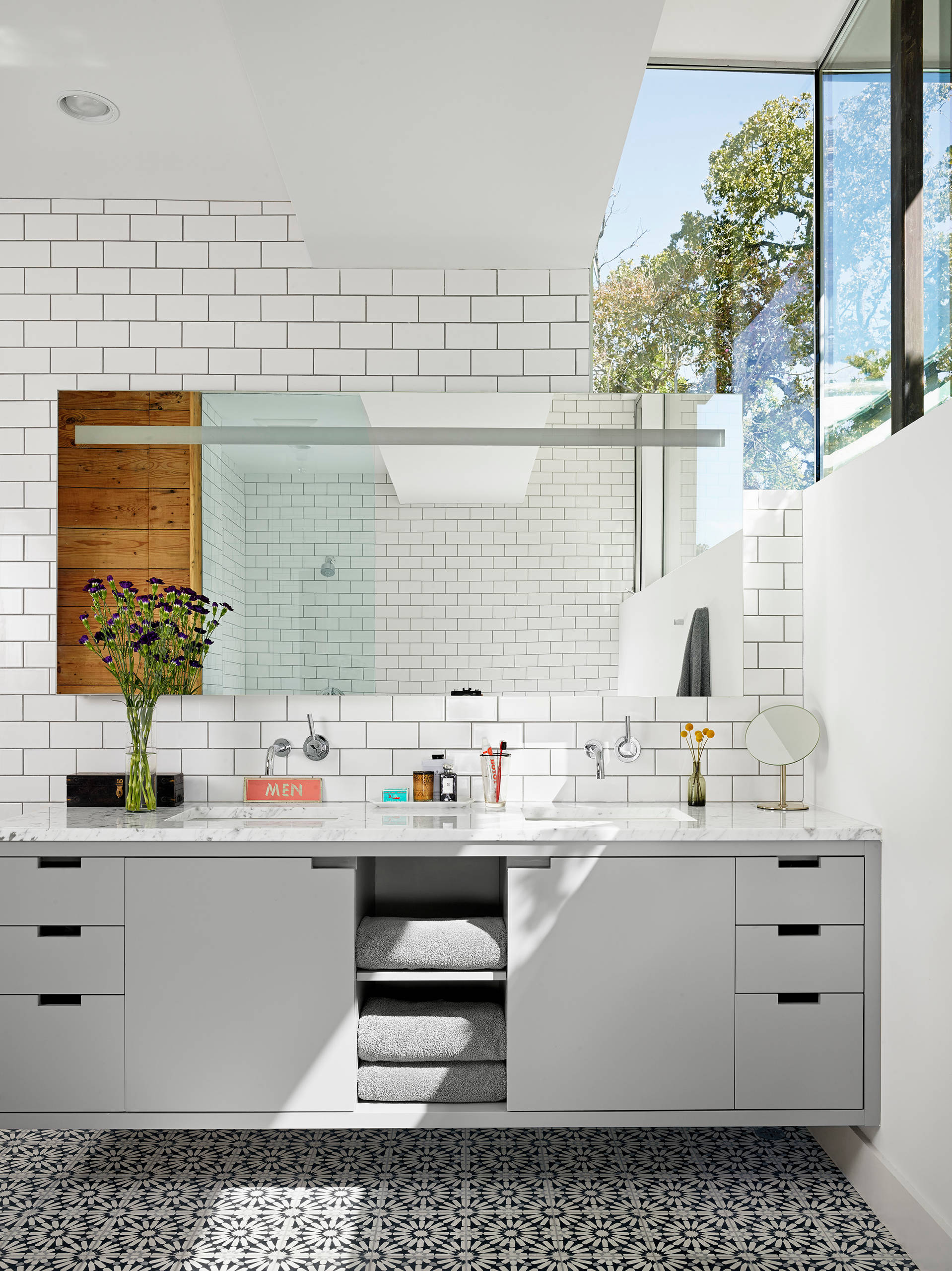 White Tiles Grey Grout Contemporary Bathroom Accent Tiles Bathroom Mirror Clerestory Double Sinks and Double Vanity Floating Vanity