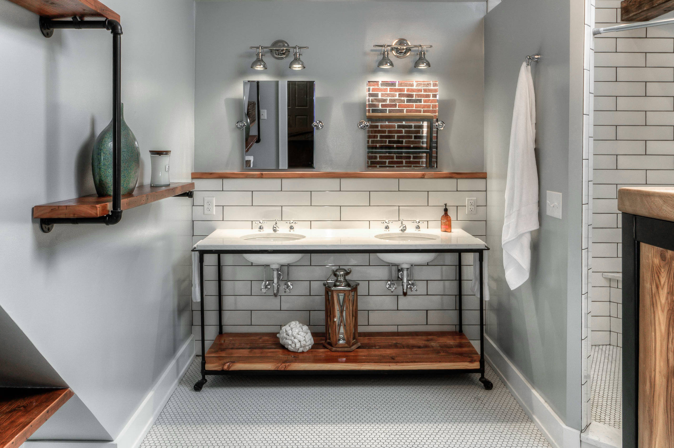 White Tiles Grey Grout Industrial Bathroom Attic Bath Barn Door Edison Bulb Exposed Brick