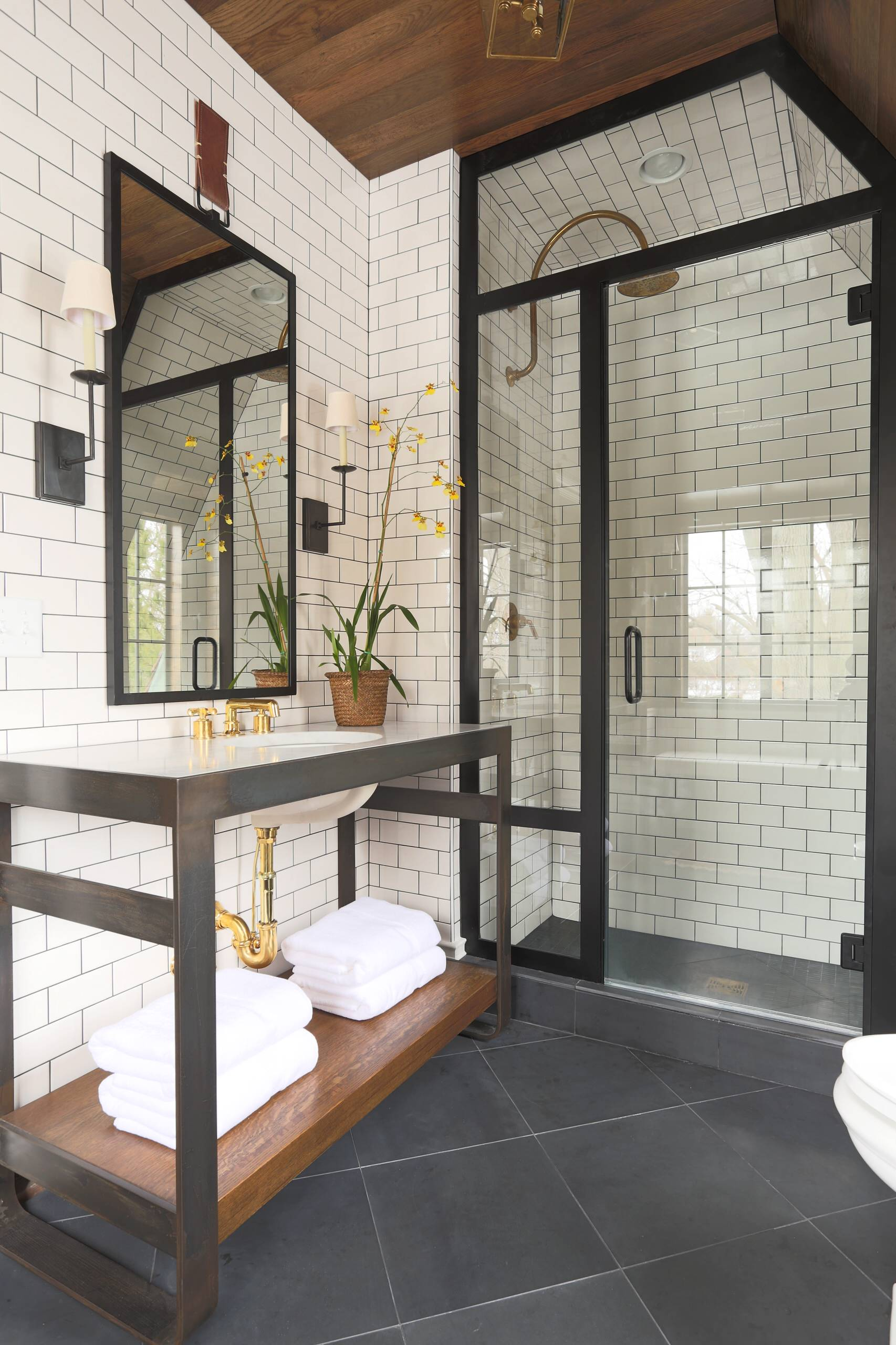 White tiles grey grout Transitional Bathroom classic design glass shower hex mosaic subway wall tile
