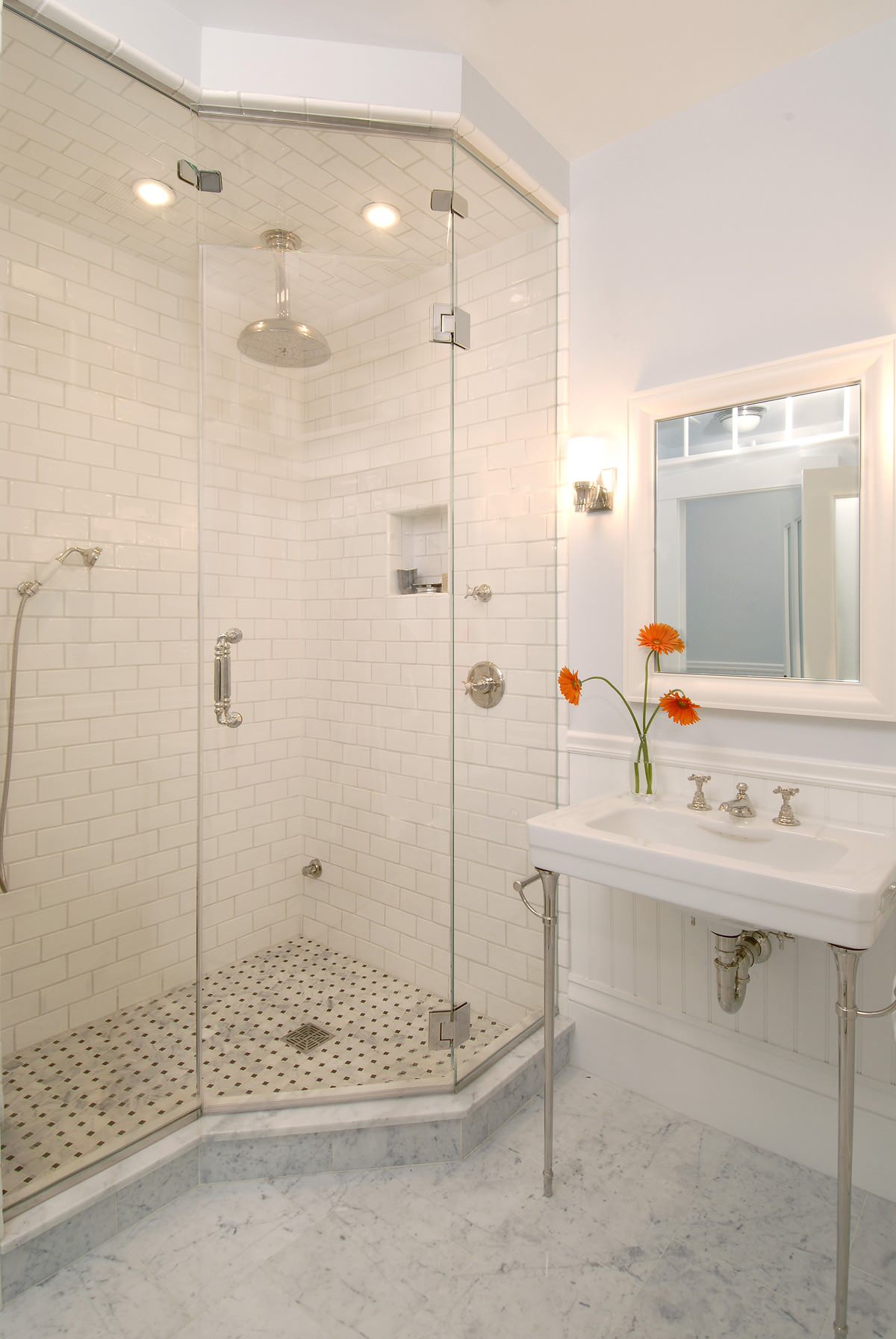 White Tiles Grey Grout for Traditional Bathroom Glass Shower Enclosures Honey Onyx Tile Marble Floor
