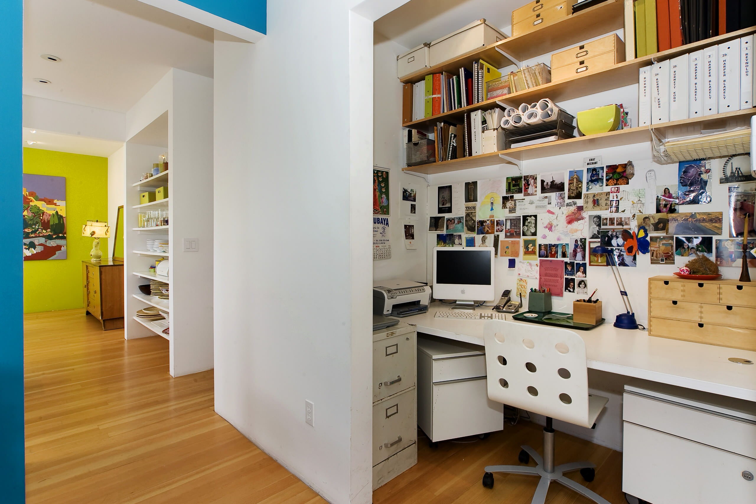 Turn closet into office Contemporary Home Office built in desk shelving storage white desk wood flooring