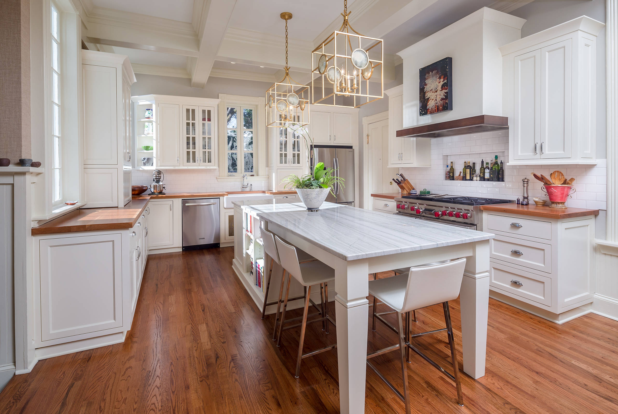 u shaped kitchen designs Traditional Kitchen in Atlanta bamboo island brown countertop chic kitchen clerestory cabinetspendant lights over islands